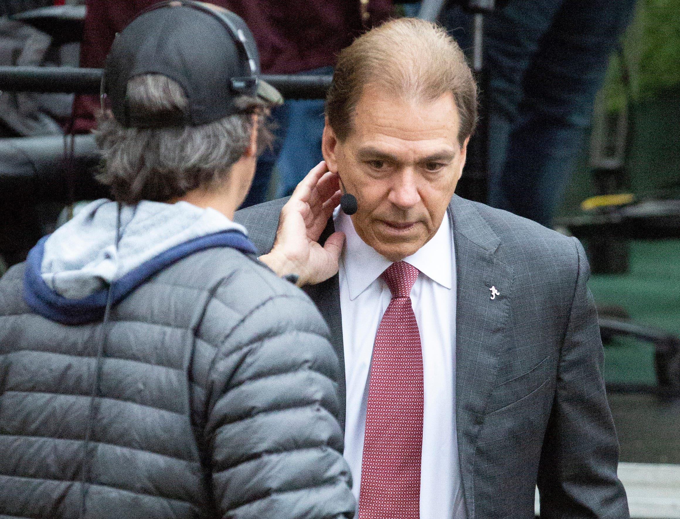 Alabama head coach Nick Saban finishes an interview with SEC Nation.