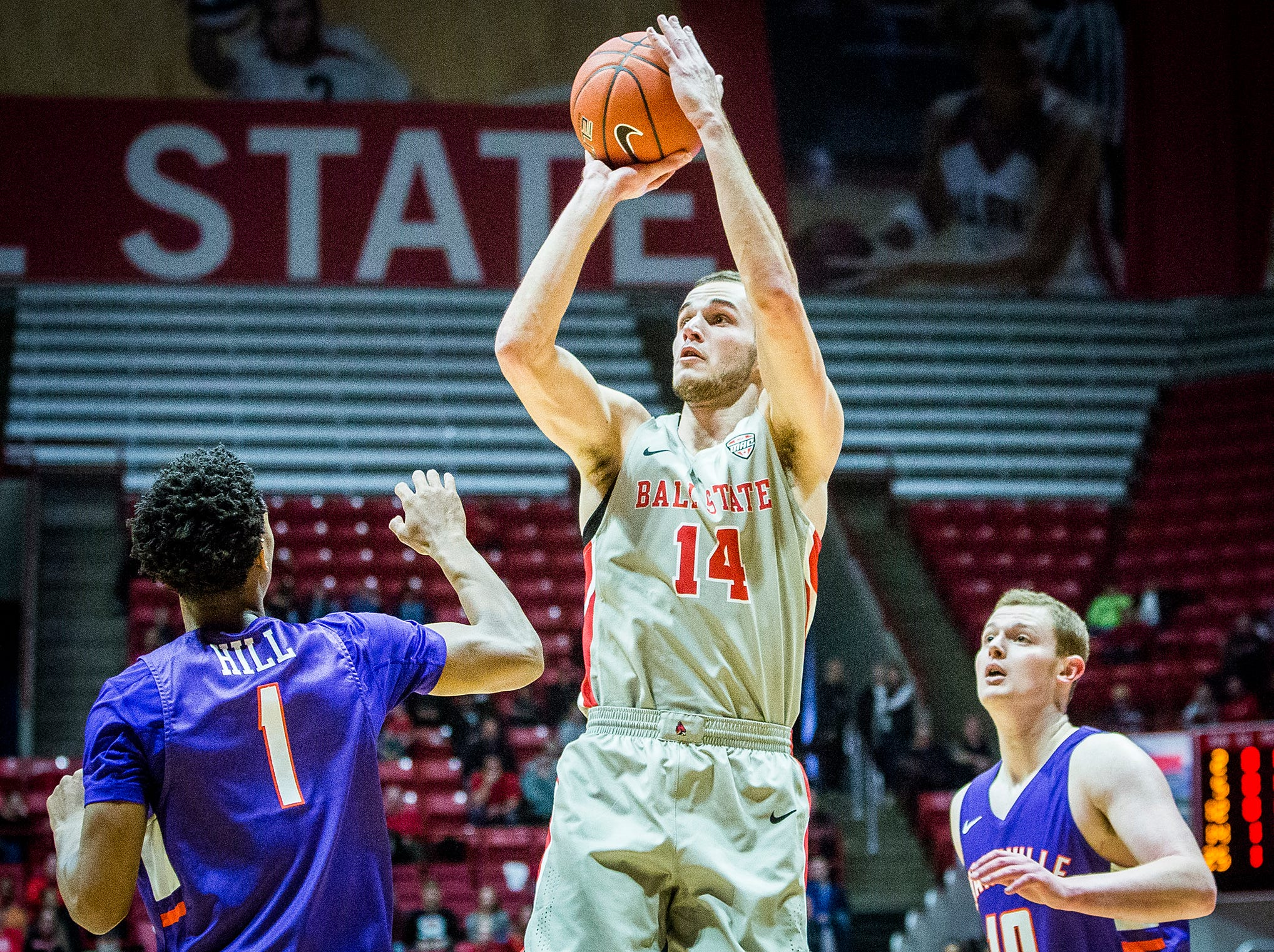Ball State's Kyle Mallers shoots against Evansville during their game at Worthen Arena Saturday, Nov. 24, 2018.