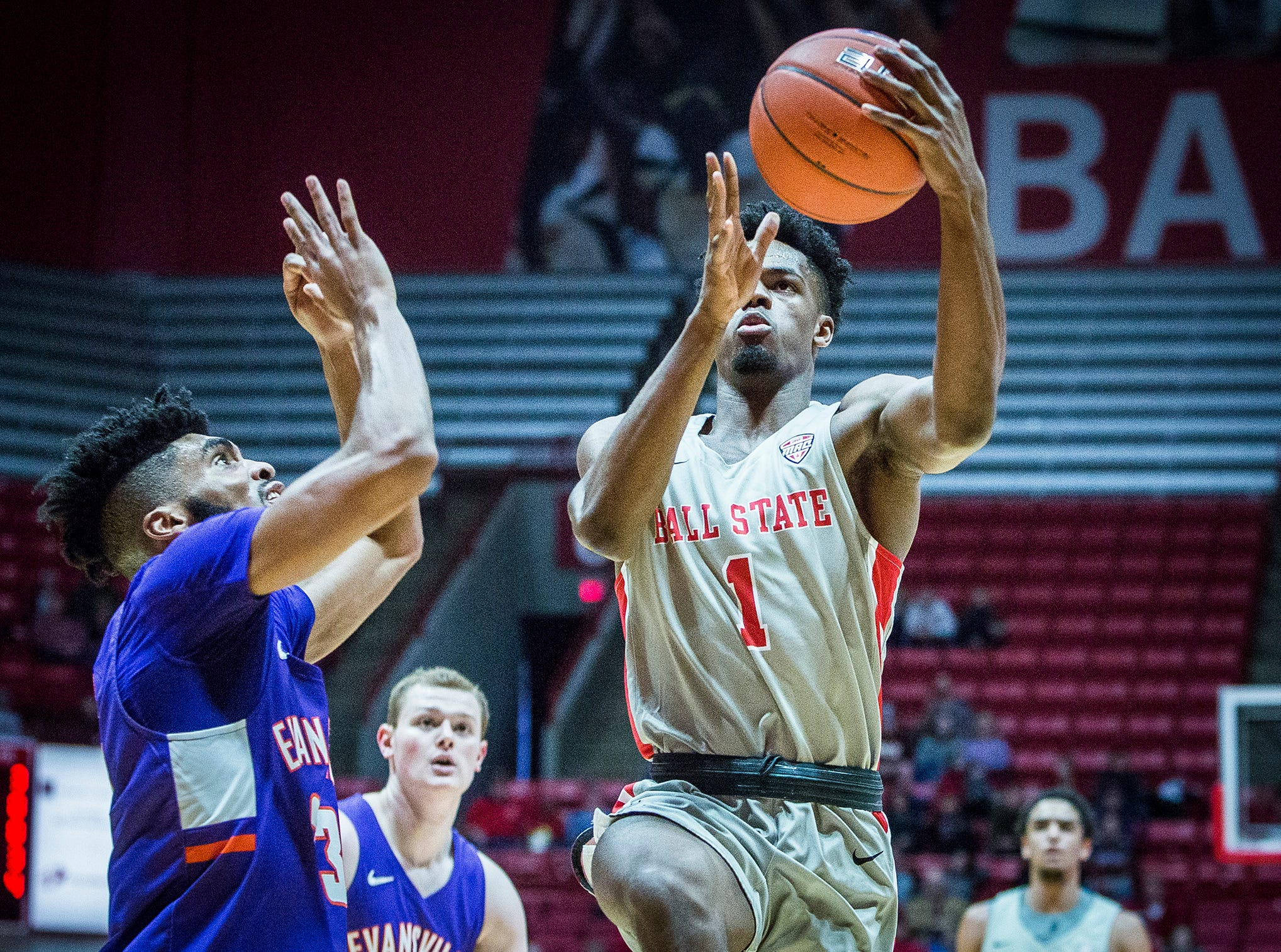 Ball State's K.J. Walton shoots past Evansville's defense during their game at Worthen Arena Saturday, Nov. 24, 2018.