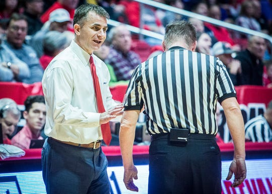 Ball State's James Whitford talks to an official during the game against Evansville at Worthen Arena Saturday, Nov. 24, 2018.