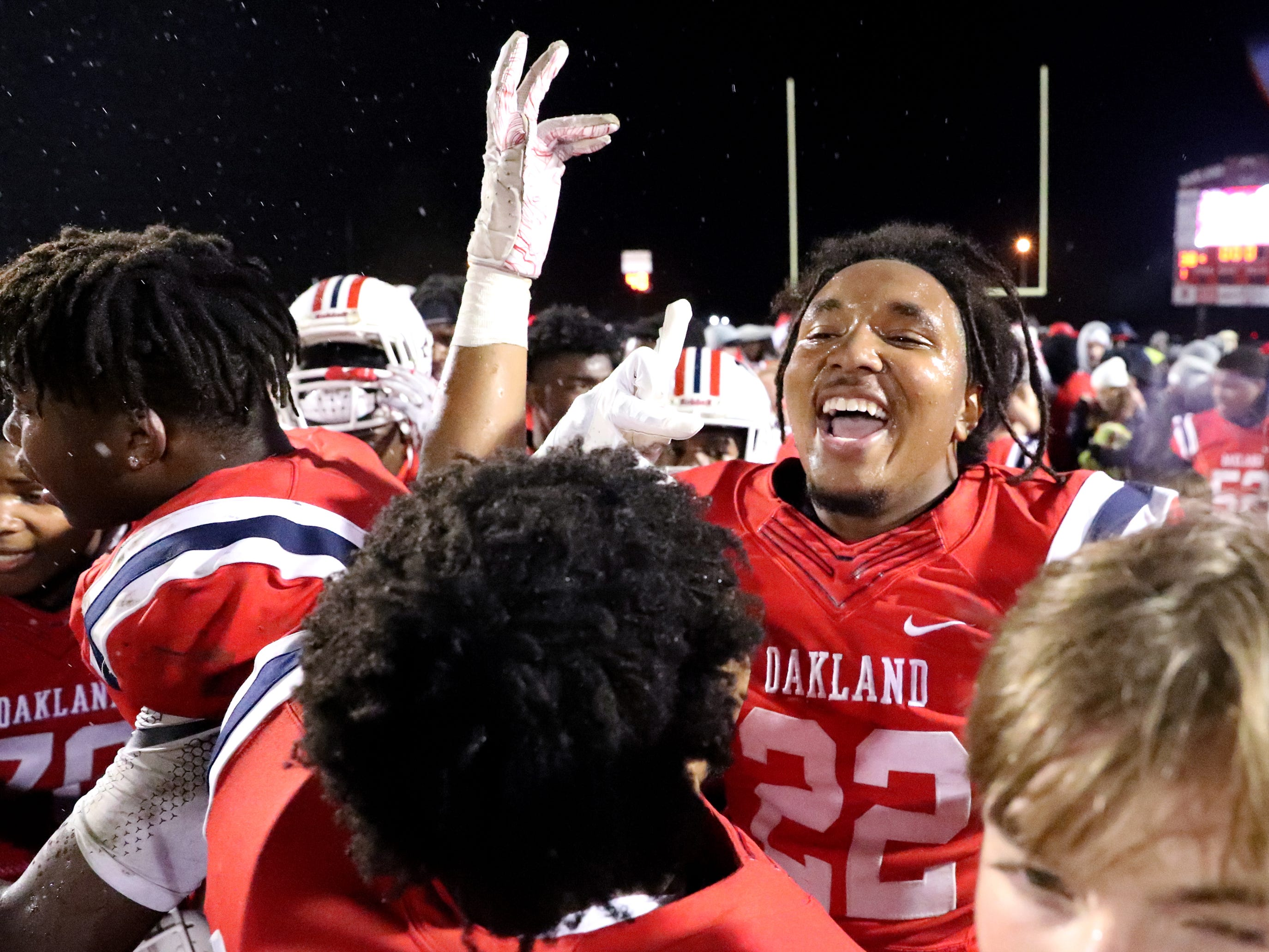 Oakland's Ronnie Rankins (22) celebrates beating Maryville 38-0 at Oakland in Murfreesboro, on Friday, Aug. 23 2018, during the 6A playoffs, and advancing to the State Tournament next Thrusday.