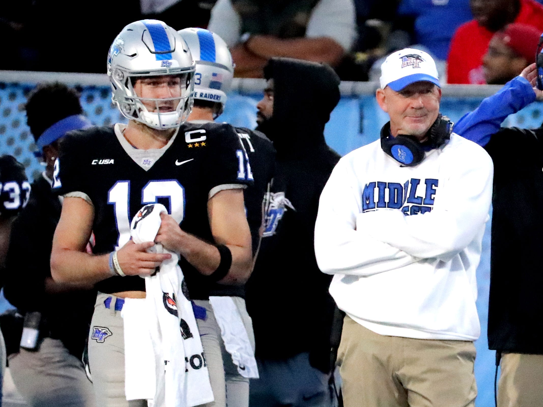 MTSU's quarterback Brent Stockstill and head coach Rick Stockstill on the sidelines during the game against UAB at MTSU on Saturday, Nov. 24, 2018.