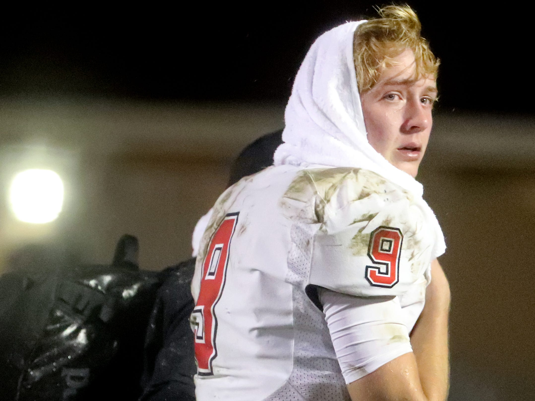 Maryville's players quarterback Cade Chambers (9) looks back as he walks off the field after losing to Oakland 38-0 in Murfreesboro, on Friday, Aug. 23 2018, during the 6A playoffs.