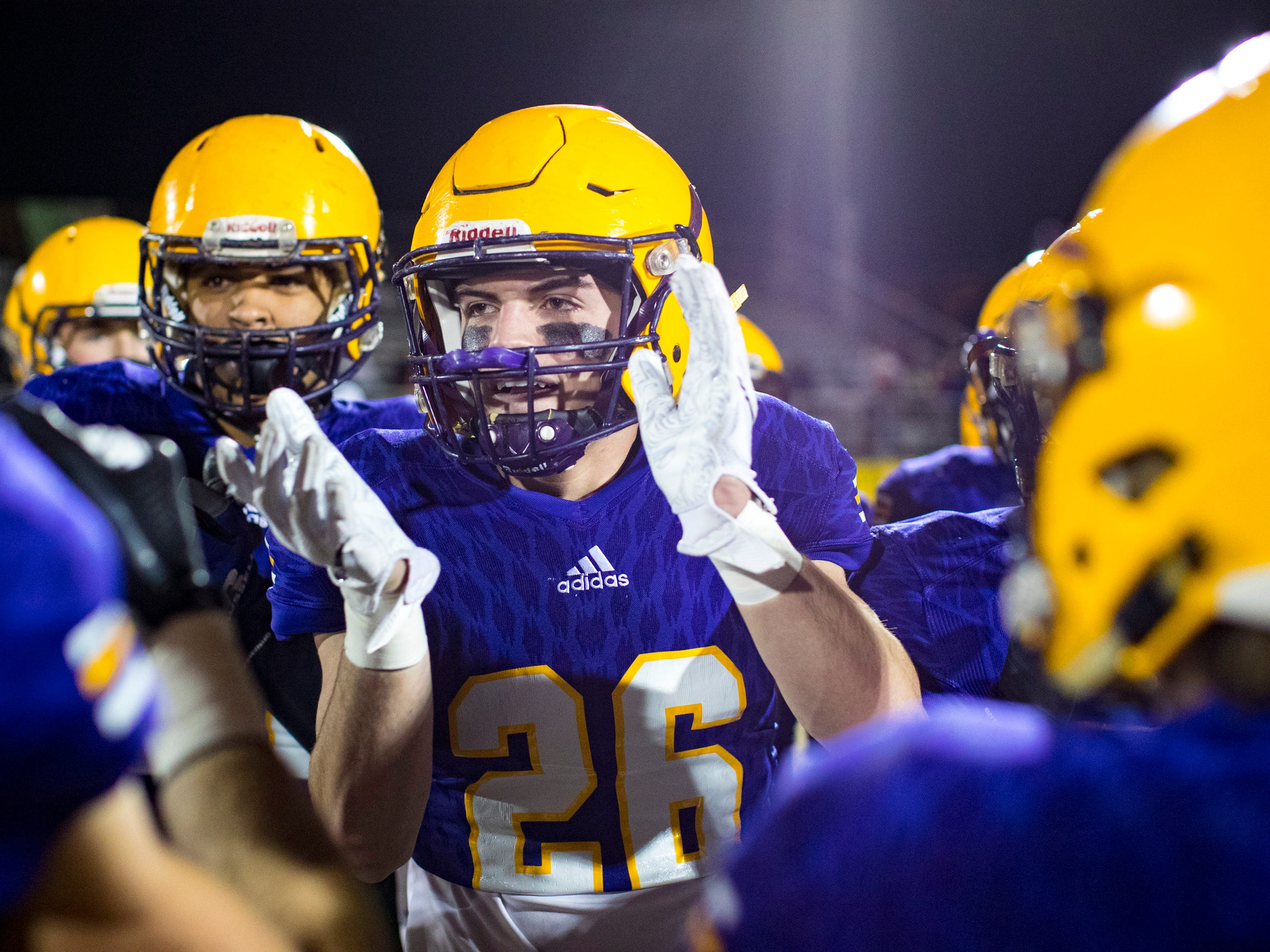 Trousdale County's Davis Stewart (26) cheers before Trousdale County's game against Meigs County at Jim Satterfield Stadium in Hartsville on Friday, Nov. 23, 2018.