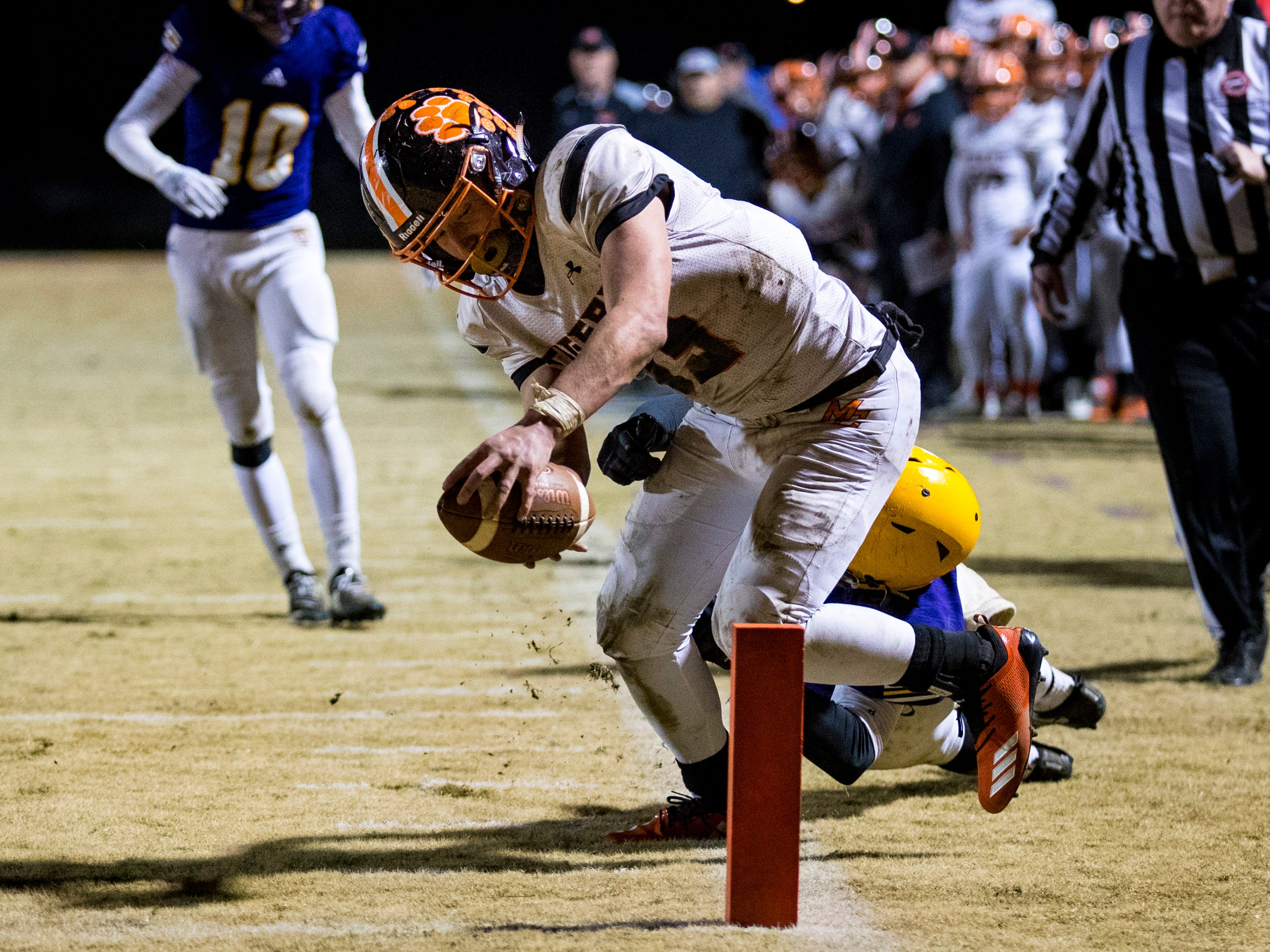 Meigs County's Aaron Swafford (19) tries to get past the goal line but is ruled out of bounds before the line during Trousdale County's game against Meigs County at Jim Satterfield Stadium in Hartsville on Friday, Nov. 23, 2018.