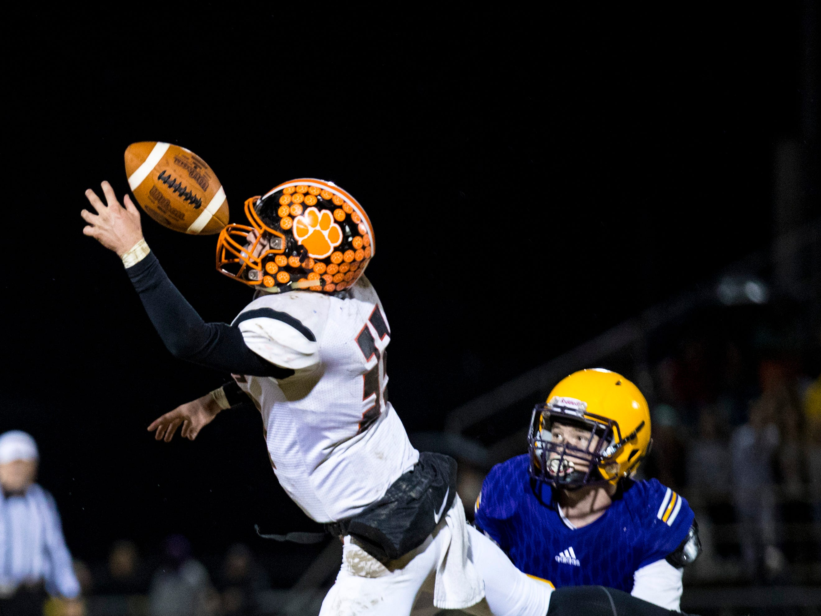 Meigs County's Caleb Hyde (33) misses a pass during Trousdale County's game against Meigs County at Jim Satterfield Stadium in Hartsville on Friday, Nov. 23, 2018.