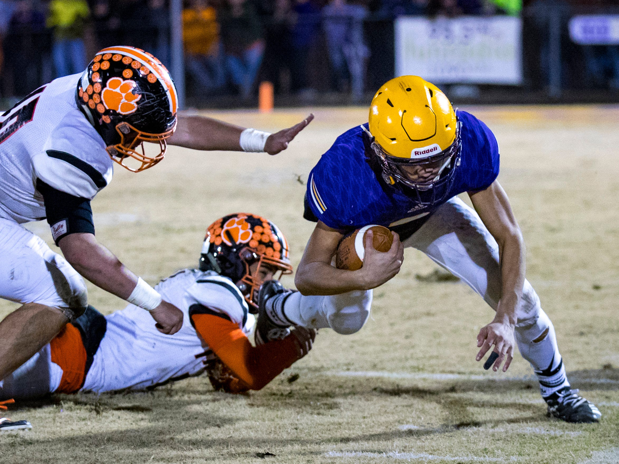 Trousdale County's Jayden Hicks (6) is brought down during Trousdale County's game against Meigs County at Jim Satterfield Stadium in Hartsville on Friday, Nov. 23, 2018.