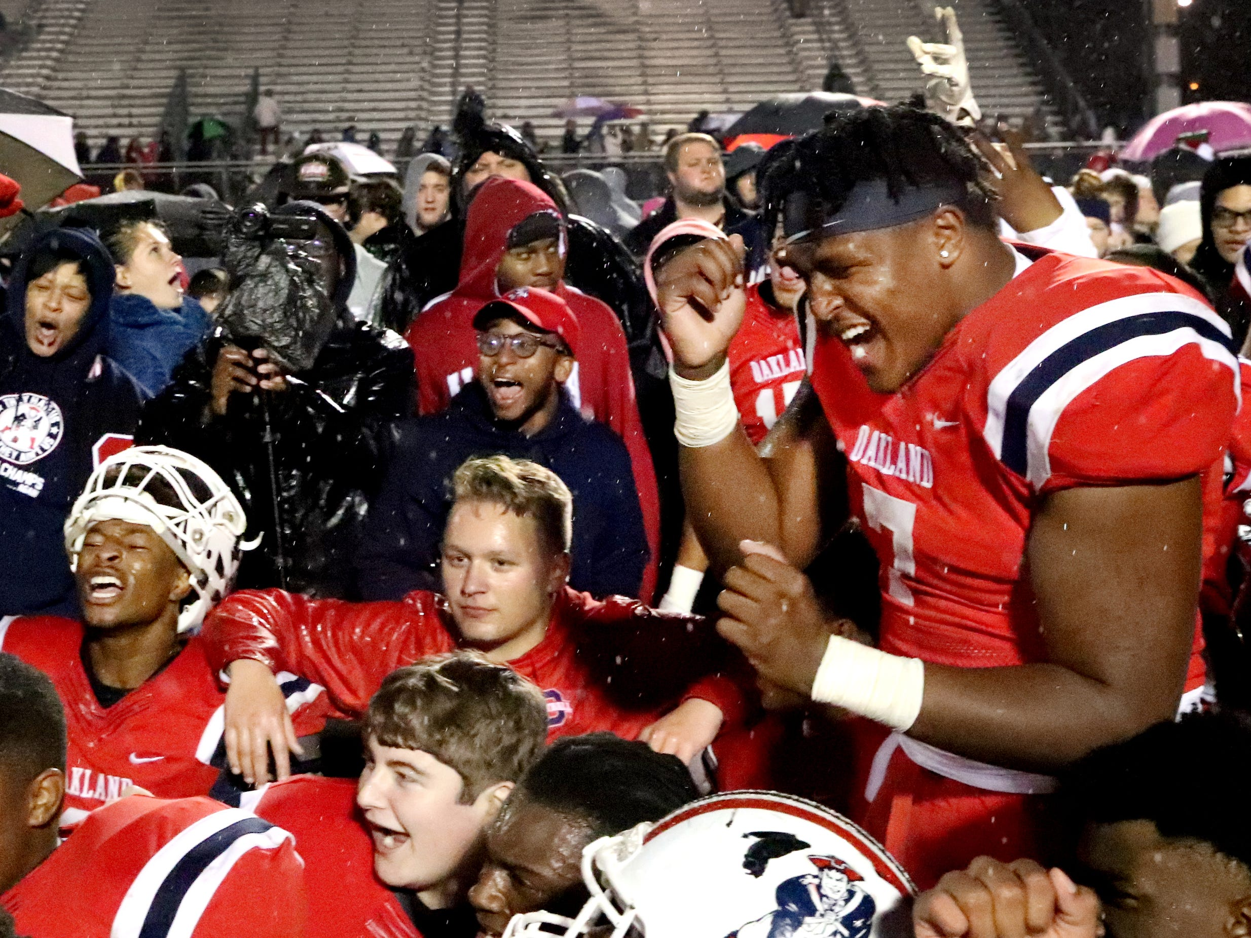 Oakland's Joseph Anderson (7) celebrates beating Maryville 38-0 at Oakland in Murfreesboro, on Friday, Aug. 23 2018, during the 6A playoffs, and advancing to the State Tournament next Thrusday.