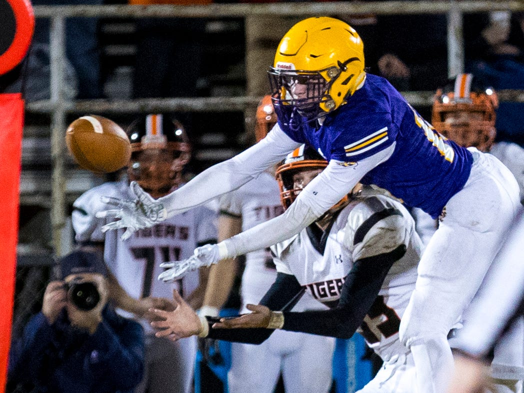 Trousdale County's Alex Ford (10) tries to go after a pass which ends up intercepted by Trousdale County's Jay'dynn Hayward (30), not pictured, during Trousdale County's game against Meigs County at Jim Satterfield Stadium in Hartsville on Friday, Nov. 23, 2018.