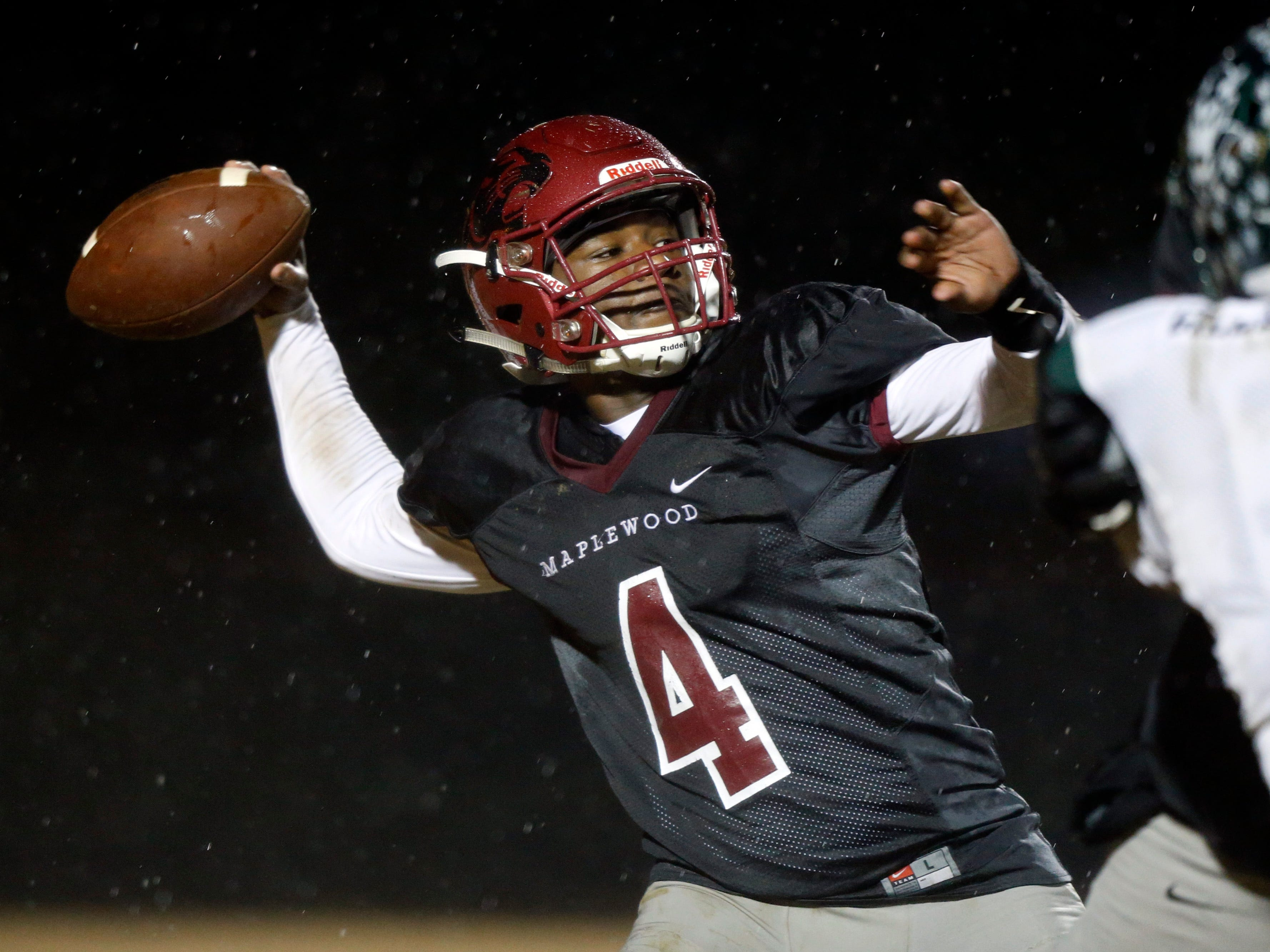 Maplewood's Bobo Hodges throws to a receiver during their game against Greeneville Friday, Nov. 23, 2018, in Nashville, TN.