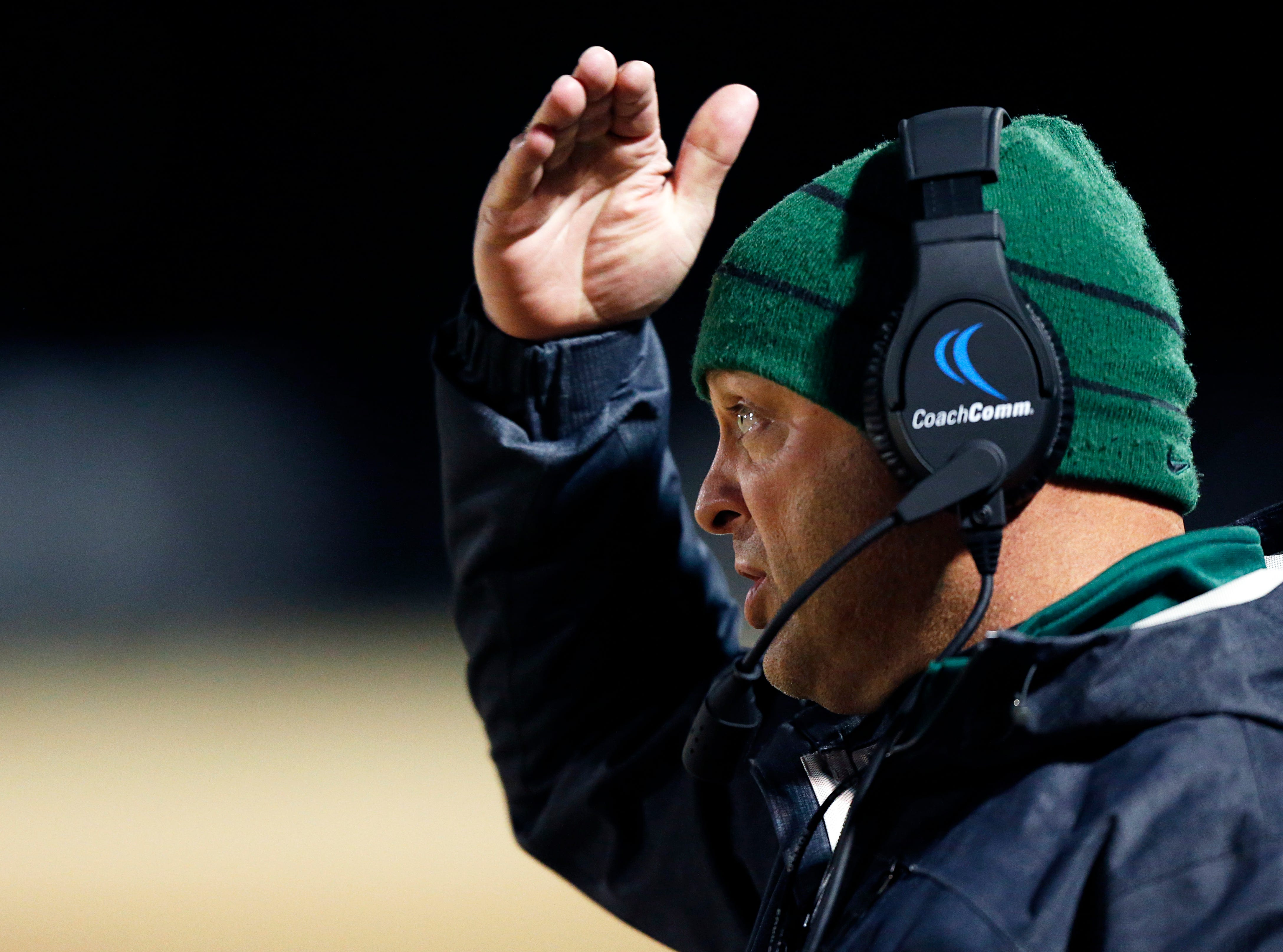 Greeneville head coach Caine Ballard signals a play during their game against Maplewood Friday, Nov. 23, 2018, in Nashville, TN.