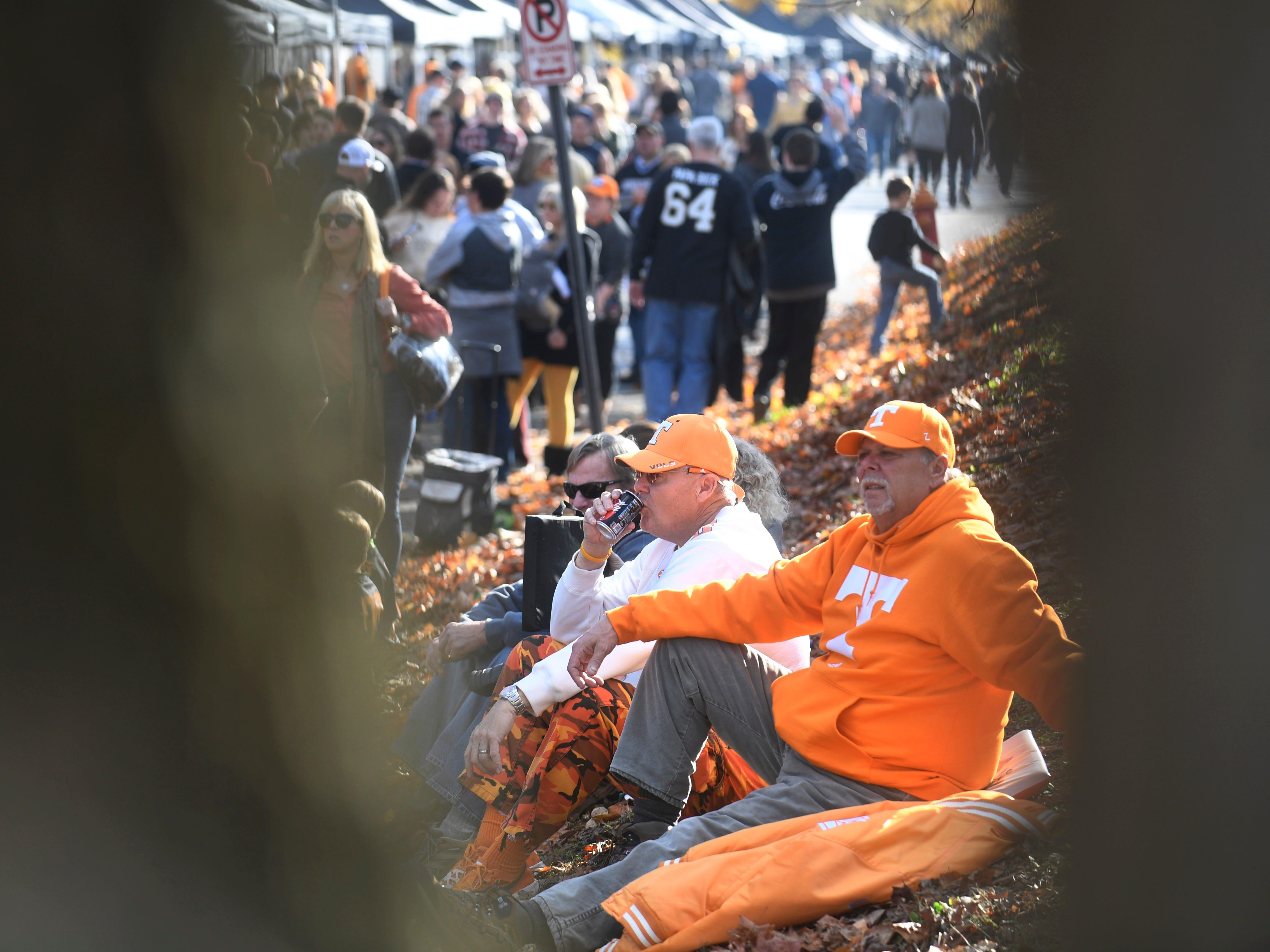 Vols fans watch the scene at Vanderbilt Stadium Saturday, Nov. 24, 2018, in Nashville, Tenn.