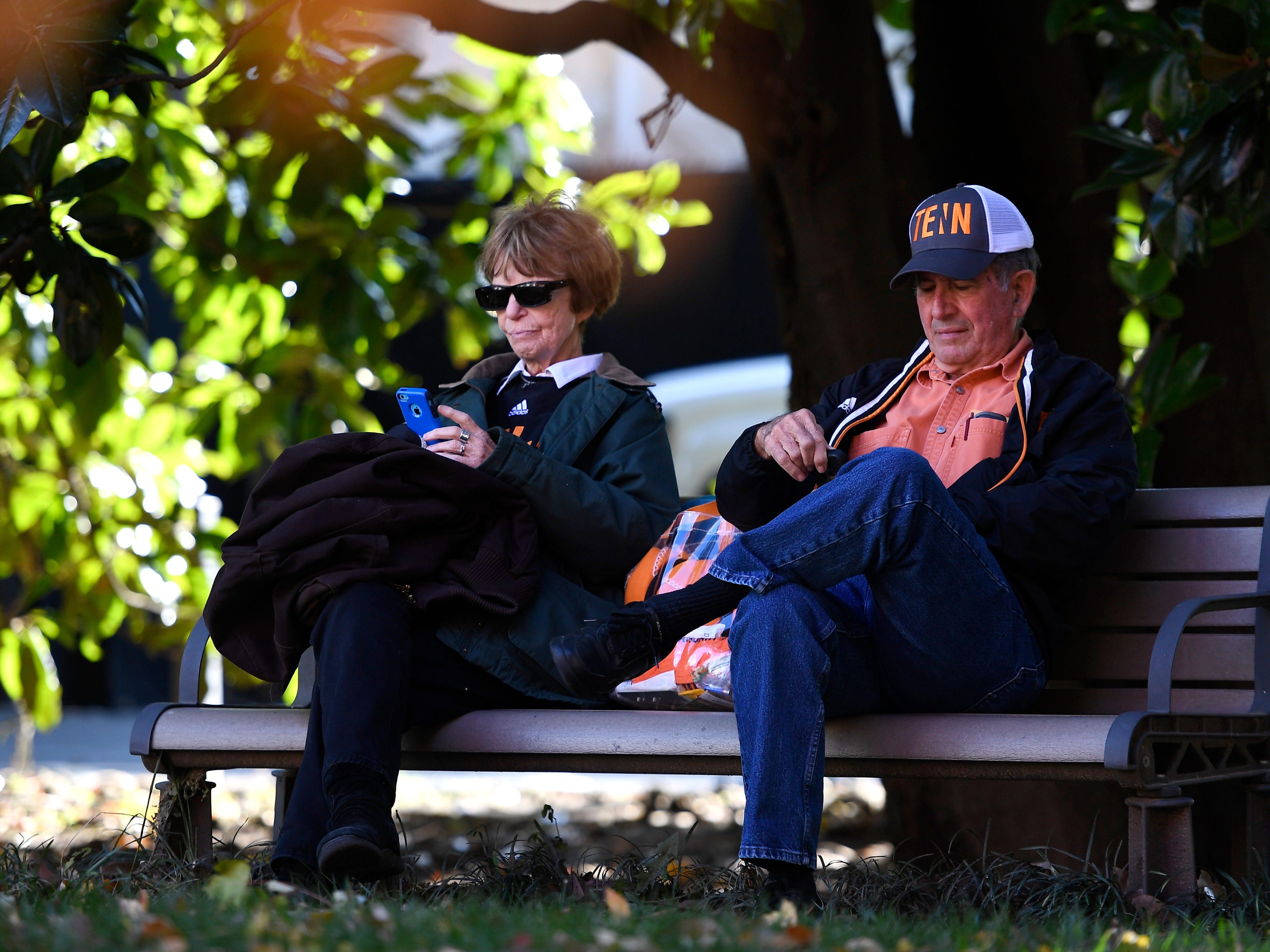 Vols fans take a break before the game at Vanderbilt Stadium Saturday, Nov. 24, 2018, in Nashville, Tenn.
