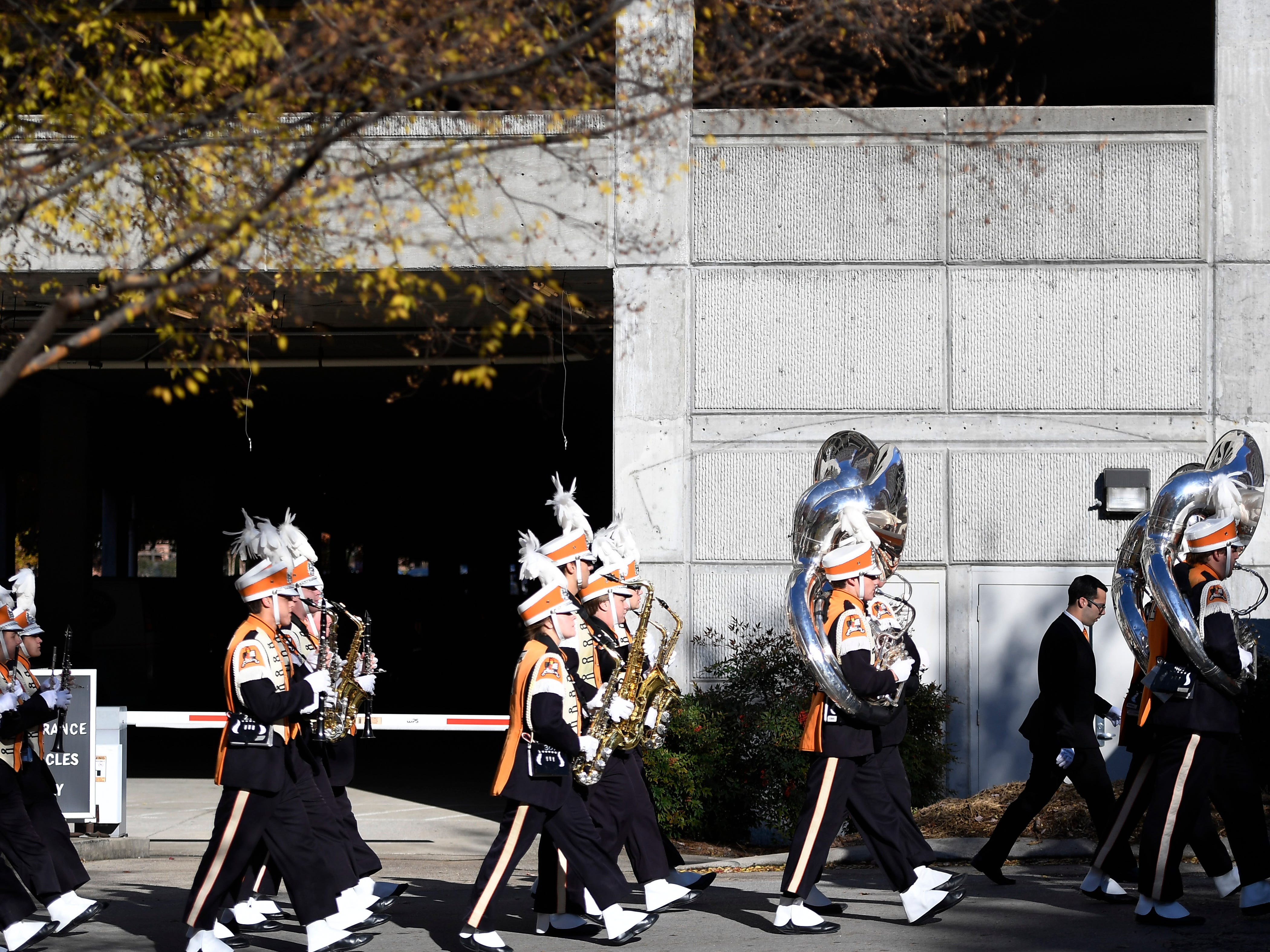 The Tennessee band marches in before the game at Vanderbilt Stadium Saturday, Nov. 24, 2018, in Nashville, Tenn.
