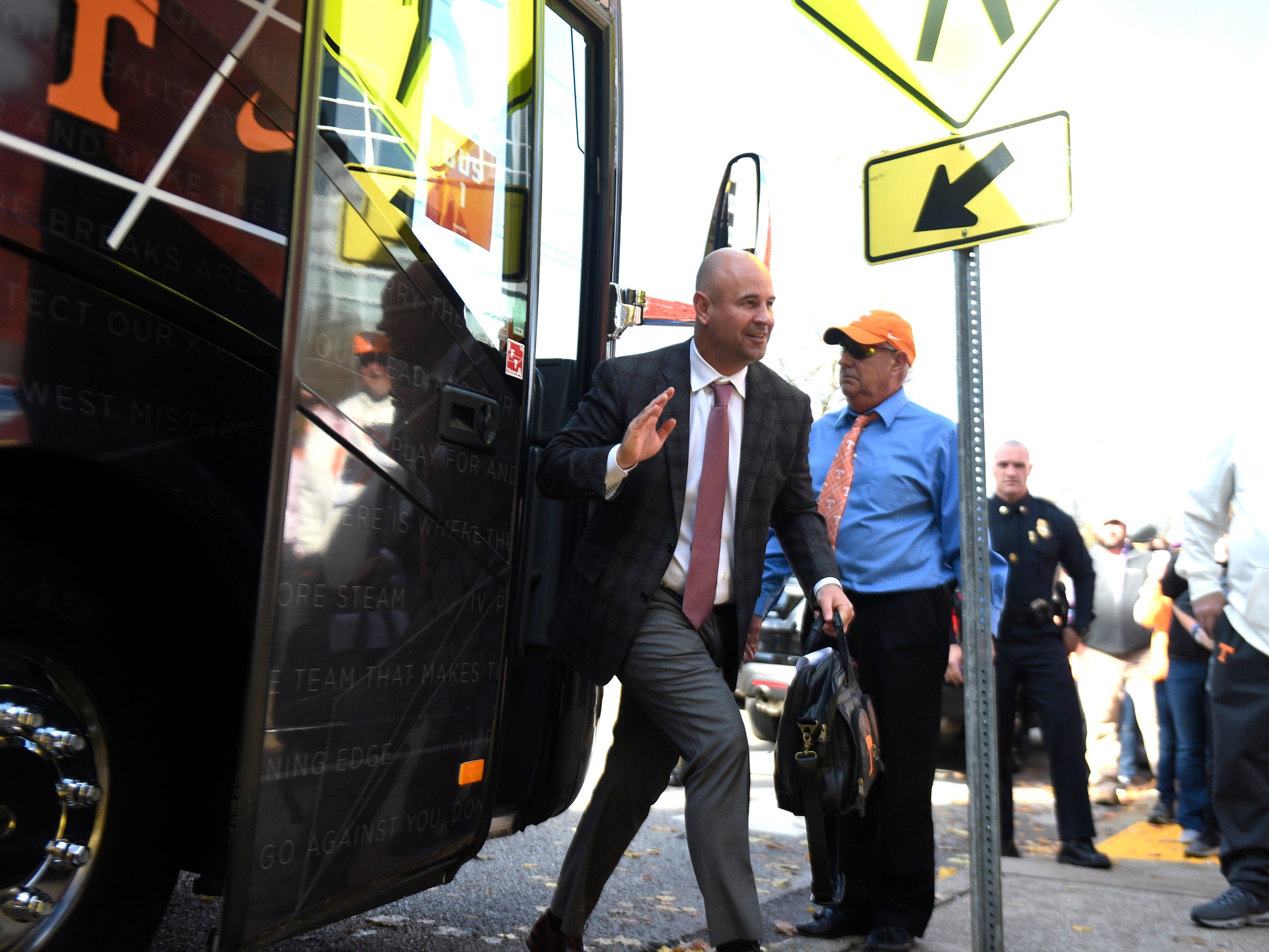 Tennessee head coach Jeremy Pruitt gets off the team bus for the game at Vanderbilt Stadium Saturday, Nov. 24, 2018, in Nashville, Tenn.