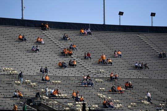 Tennessee fans arrive for the start of the game at Vanderbilt Stadium Saturday, Nov. 24, 2018, in Nashville, Tenn.