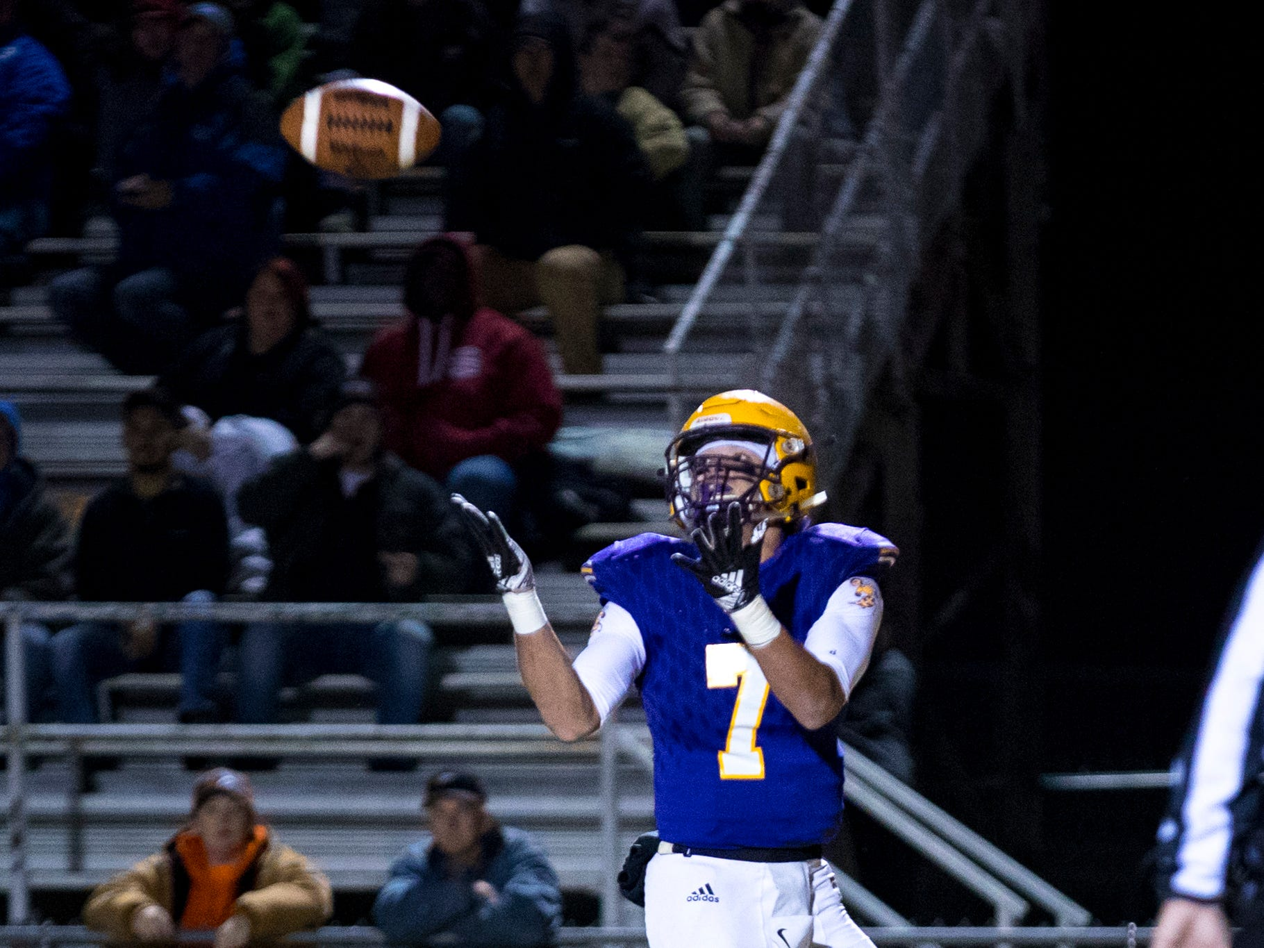 Trousdale County's Tarvaris Claiborne (7) catches a pass for a touchdown during Trousdale County's game against Meigs County at Jim Satterfield Stadium in Hartsville on Friday, Nov. 23, 2018.