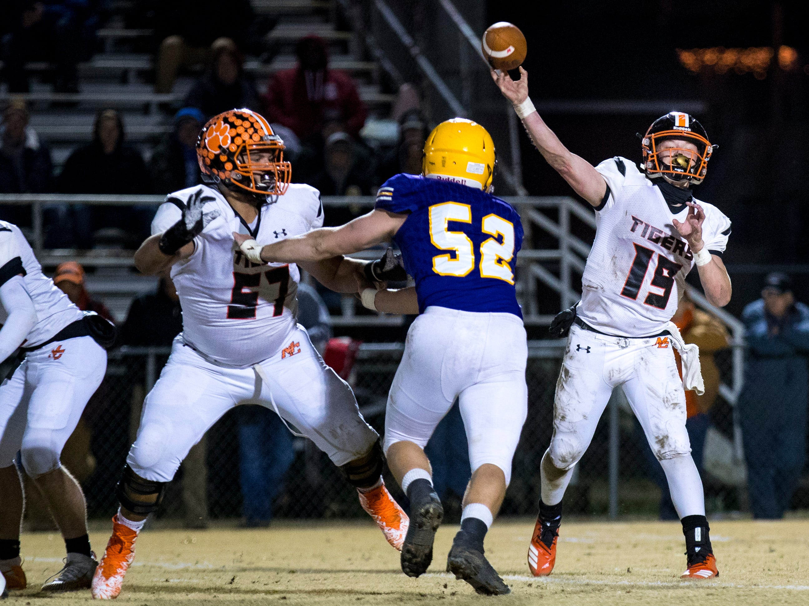 Meigs County's Aaron Swafford (19) passes during Trousdale County's game against Meigs County at Jim Satterfield Stadium in Hartsville on Friday, Nov. 23, 2018.