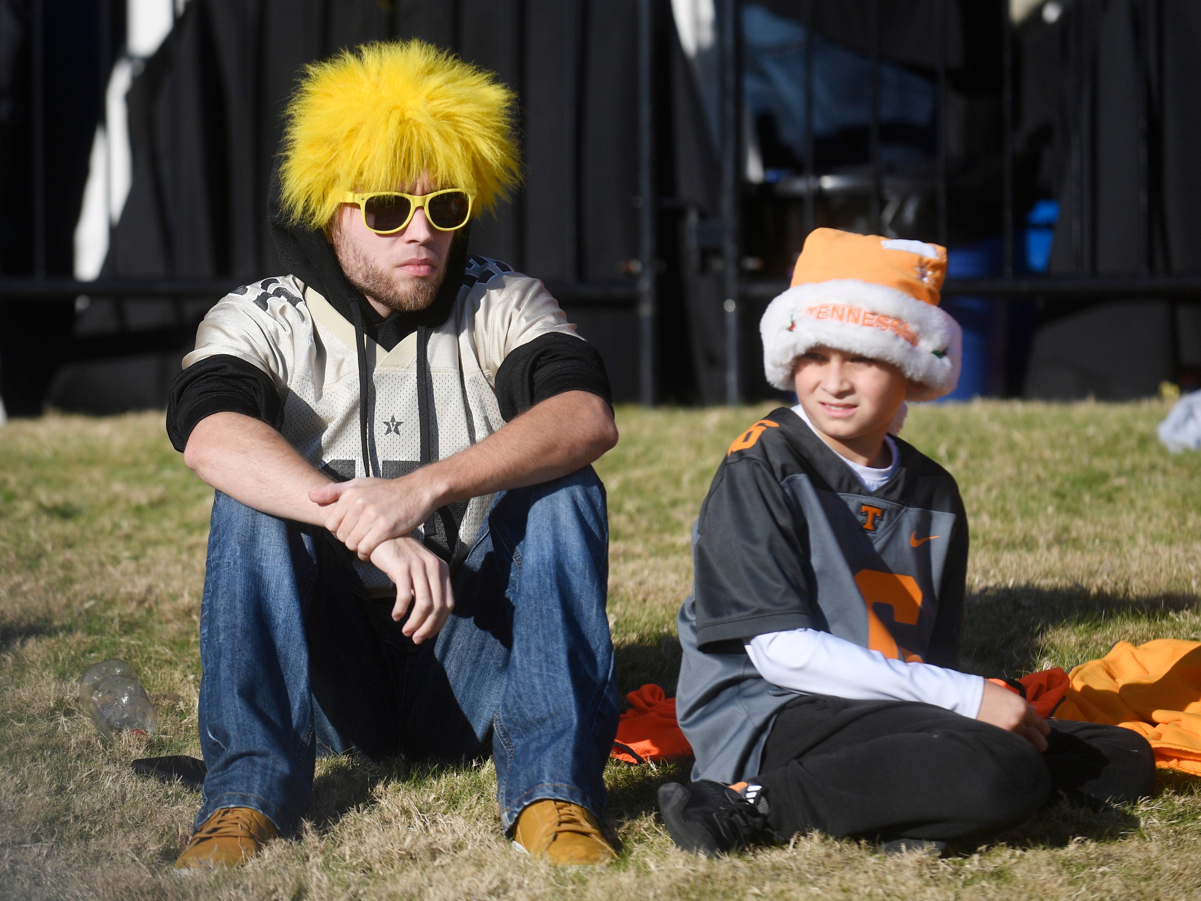 Fans are decked out before the start of the game at Vanderbilt Stadium Saturday, Nov. 24, 2018, in Nashville, Tenn.