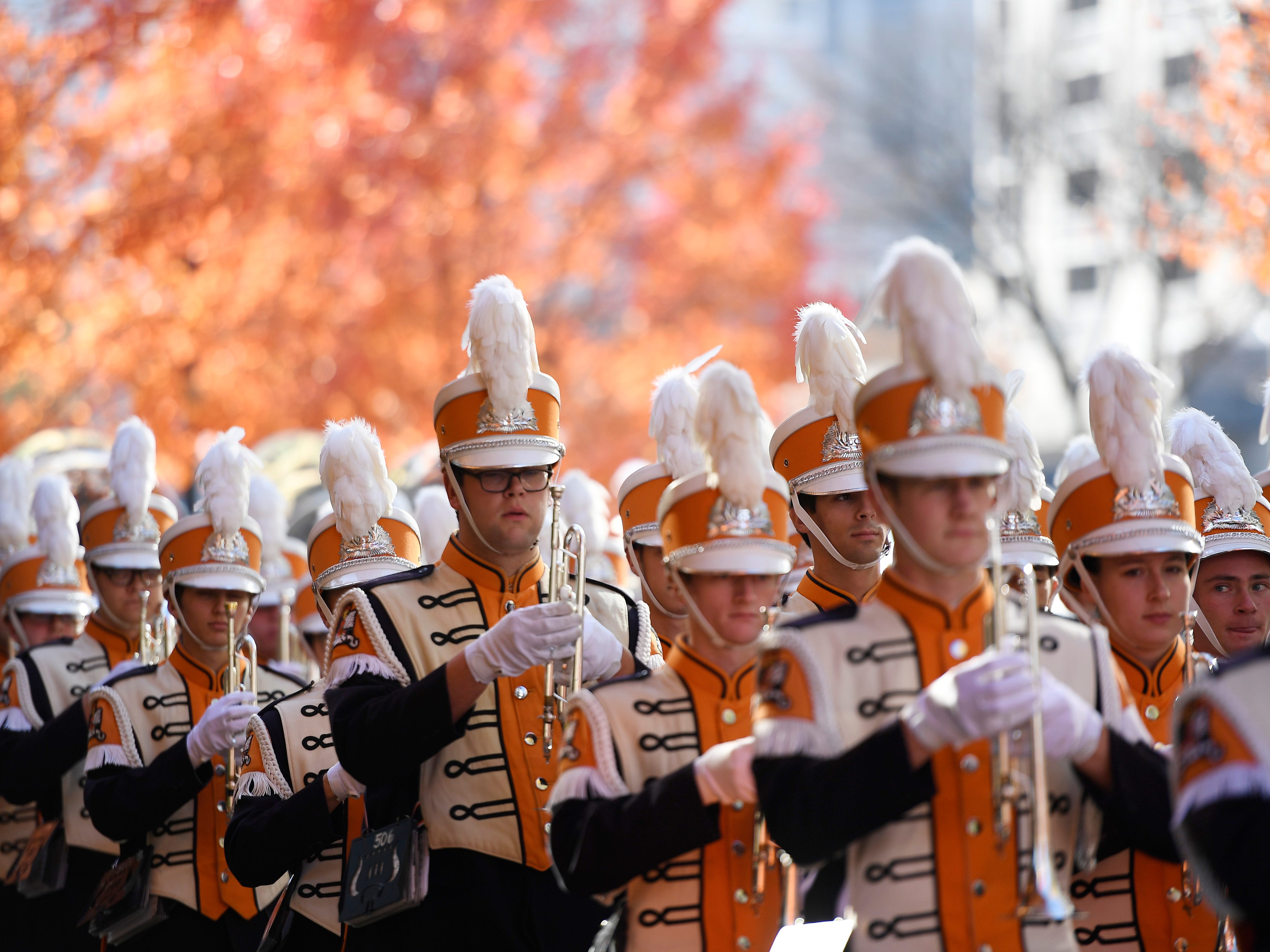 The Tennessee band arrives before the game at Vanderbilt Stadium Saturday, Nov. 24, 2018, in Nashville, Tenn.