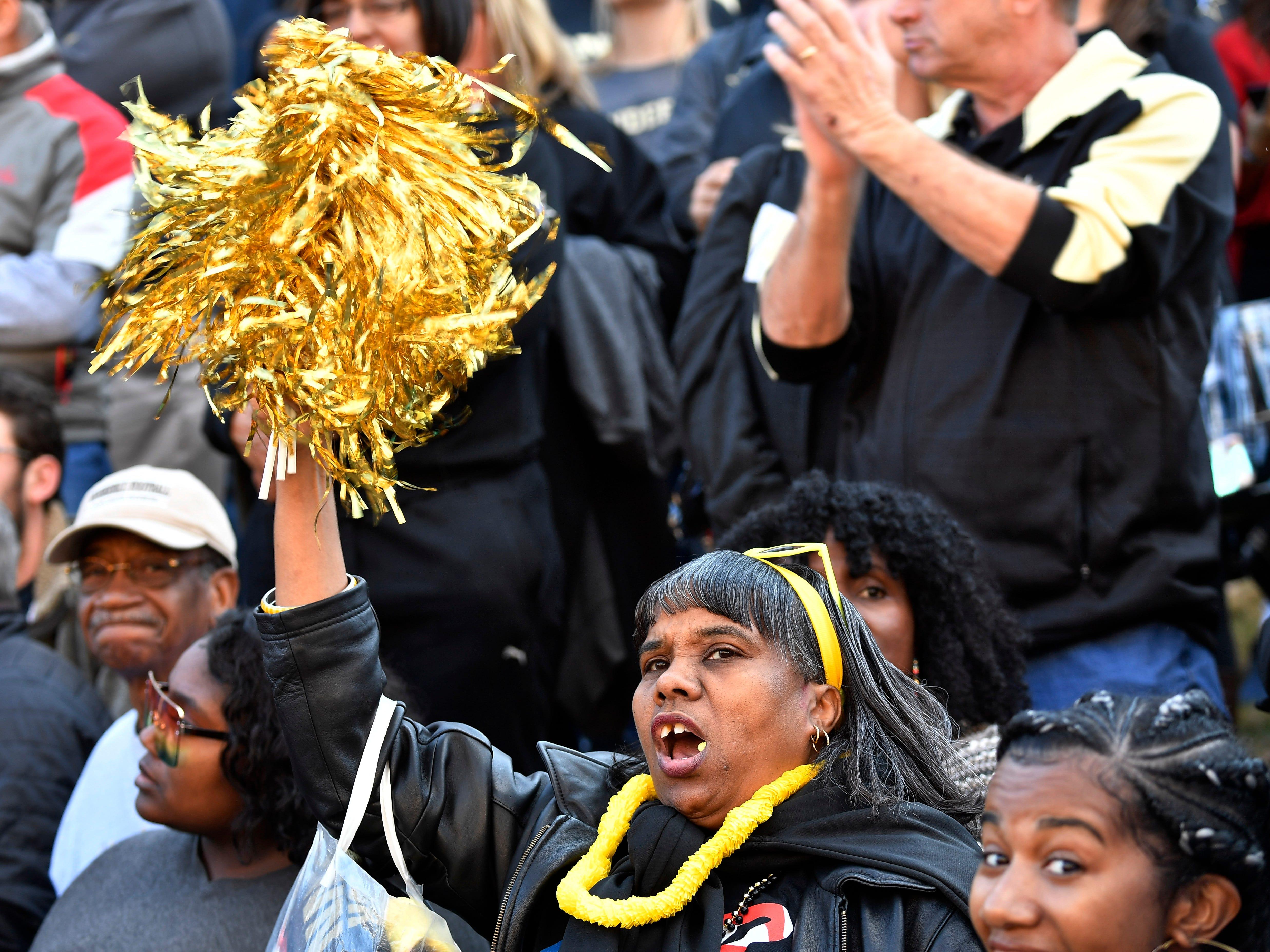Vandy fans cheer for the team before the game at Vanderbilt Stadium Saturday, Nov. 24, 2018, in Nashville, Tenn.