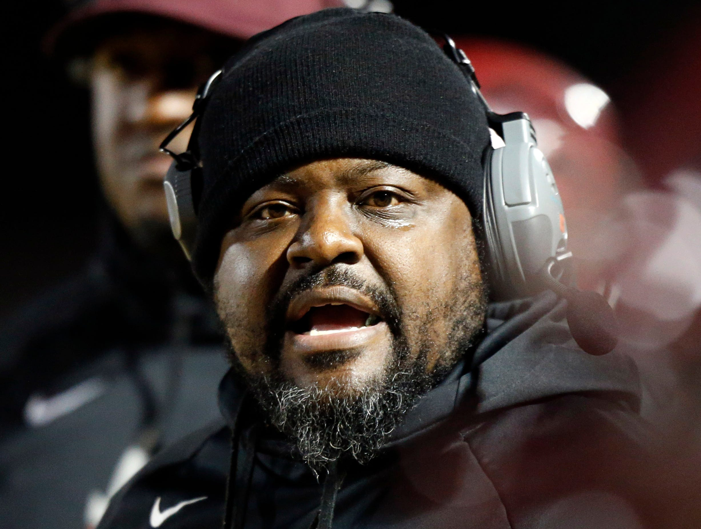 Maplewood head coach Arcentae Broome yells to player during their game against Greeneville Friday, Nov. 23, 2018, in Nashville, TN.