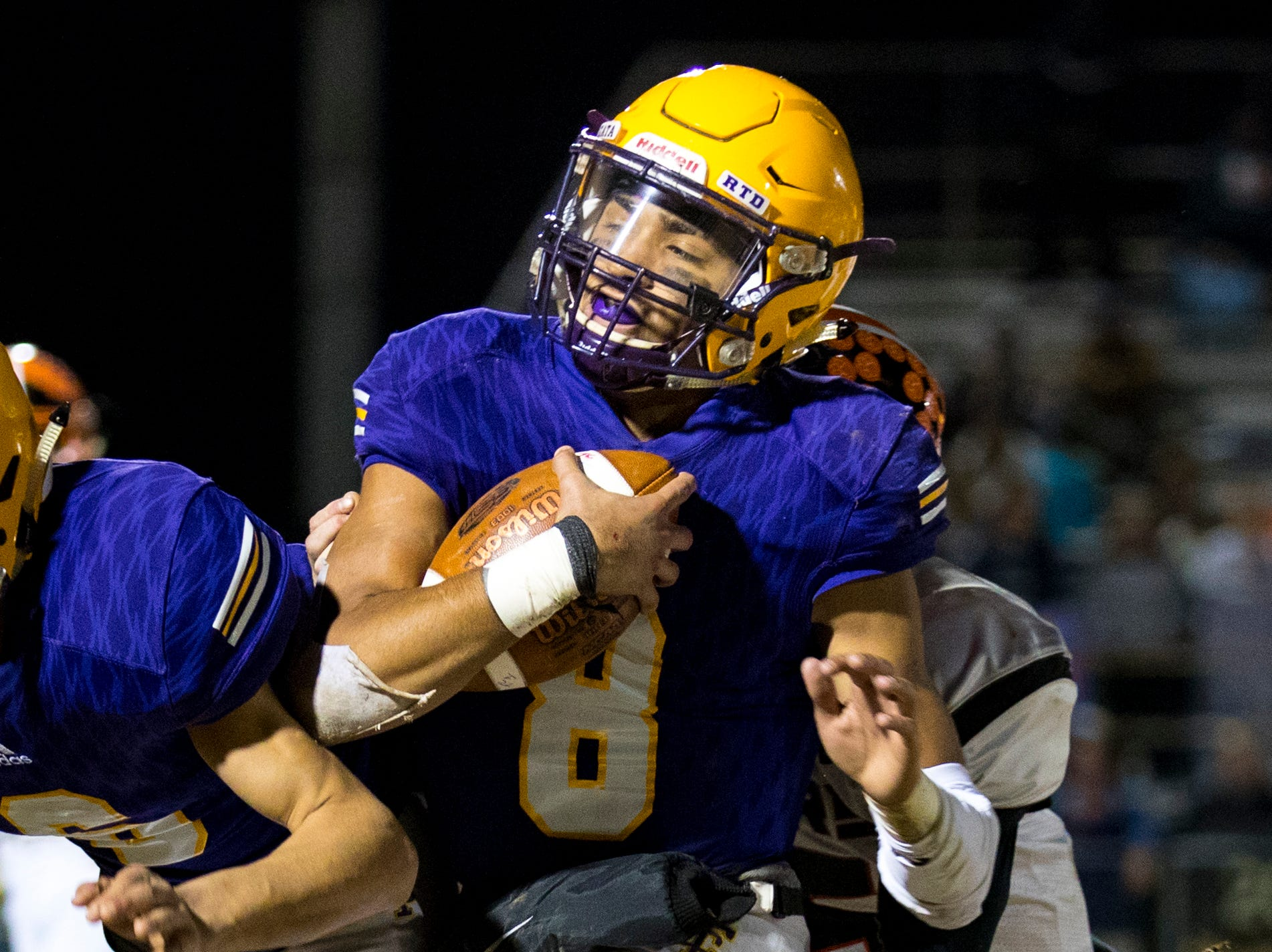 Trousdale County's Keyvont Baines (8) runs the ball during Trousdale County's game against Meigs County at Jim Satterfield Stadium in Hartsville on Friday, Nov. 23, 2018.