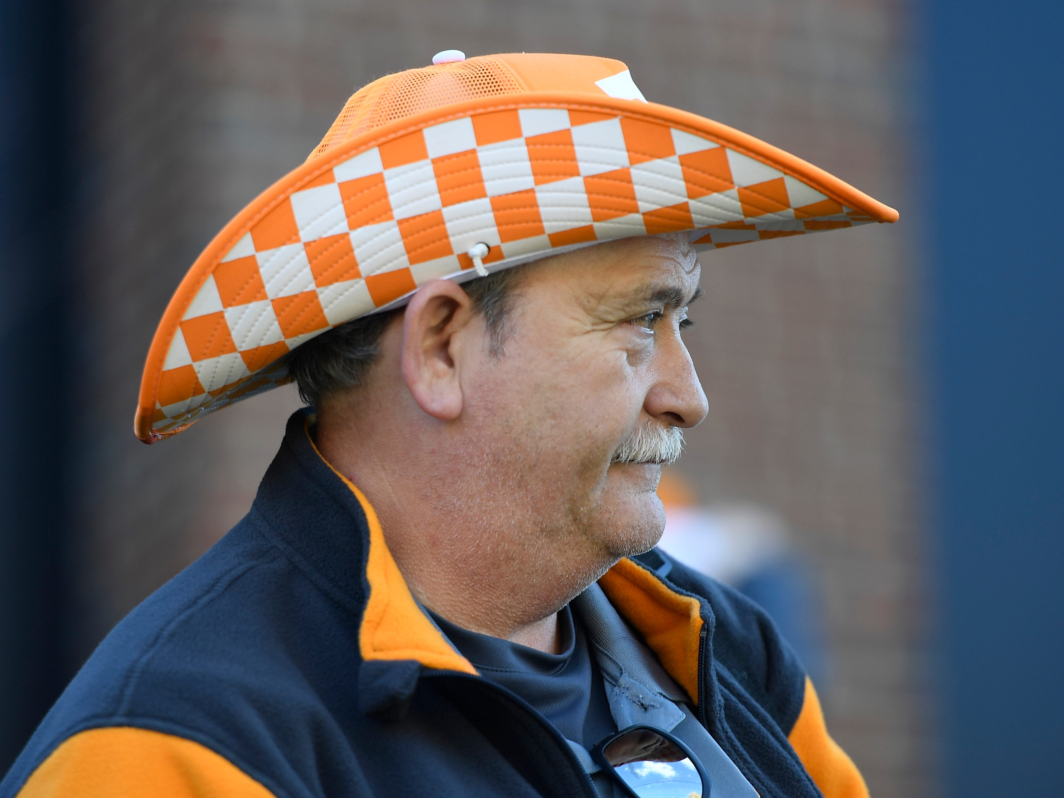 Vols fan Bucky Floyd of Sparta, Tenn., is decked out in Tennessee colors before the game at Vanderbilt Stadium Saturday, Nov. 24, 2018, in Nashville, Tenn.