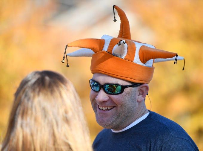 Jeff Blakeley of Memphis shows his Vols spirit before the game at Vanderbilt Stadium Saturday, Nov. 24, 2018, in Nashville, Tenn.