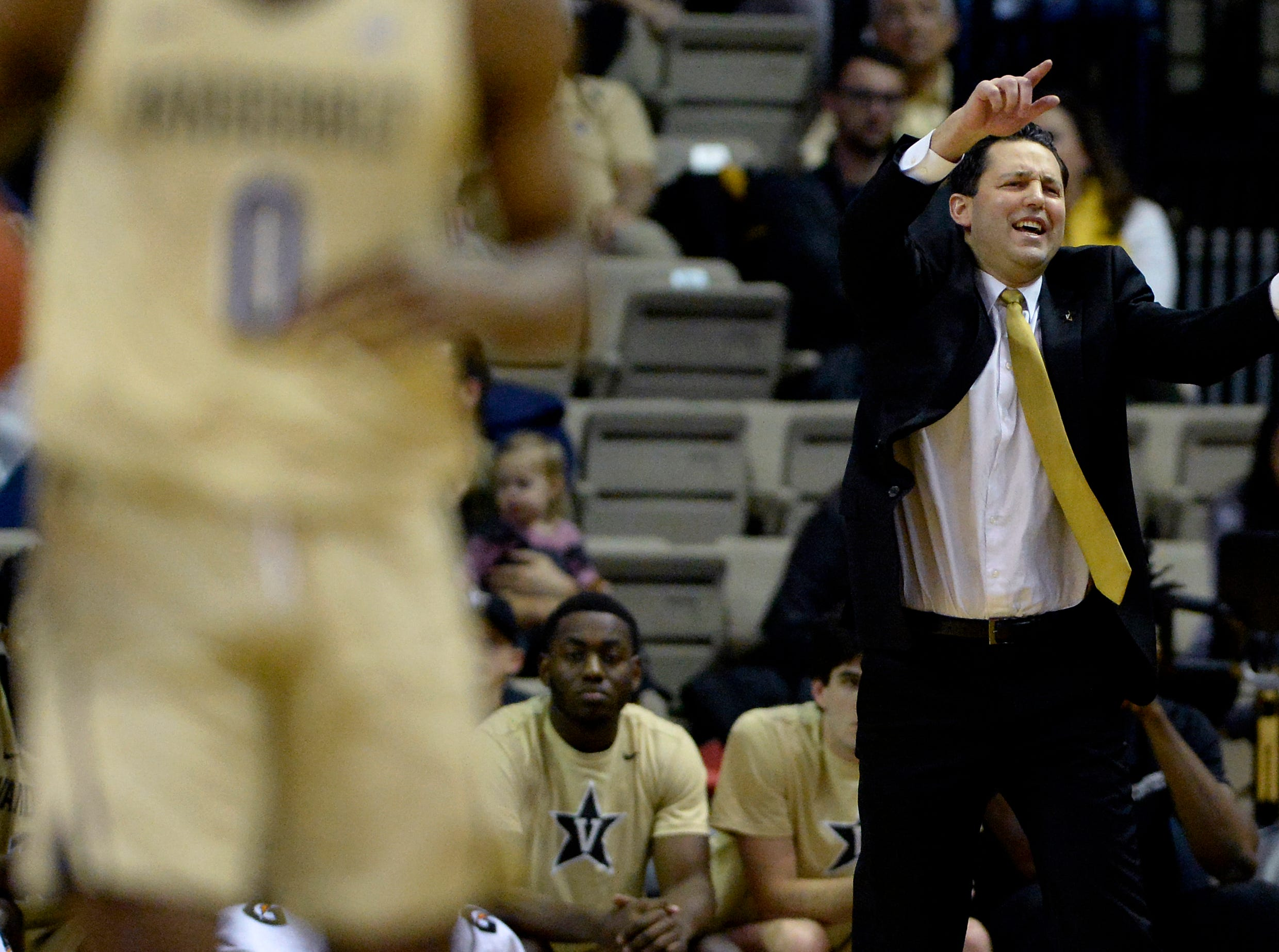 Vanderbilt head coach Bryce Drew directs his players against Kent State during the first half of an NCAA college basketball game Friday, Nov. 23, 2018, in Nashville, Tenn.