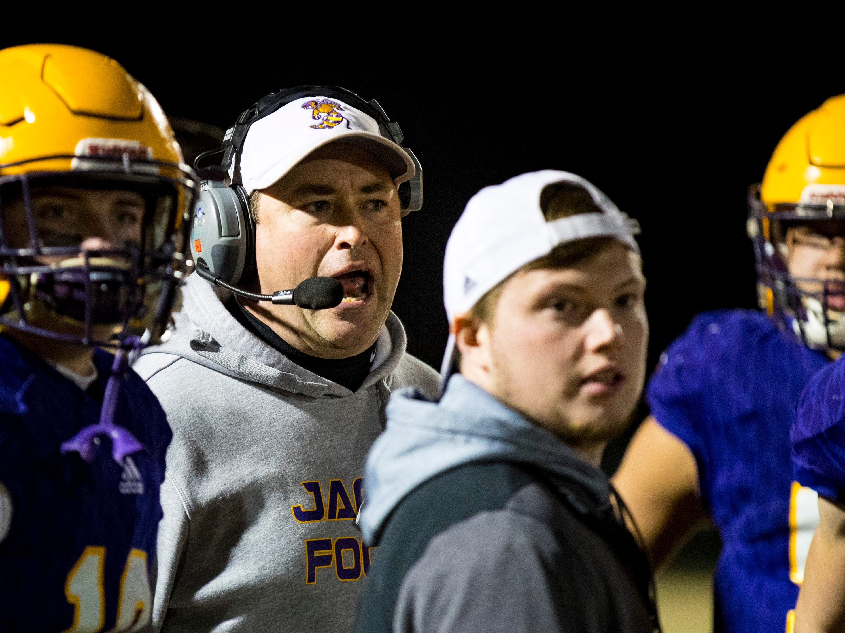Trousdale County's head coach Brad Waggoner during Trousdale County's game against Meigs County at Jim Satterfield Stadium in Hartsville on Friday, Nov. 23, 2018.