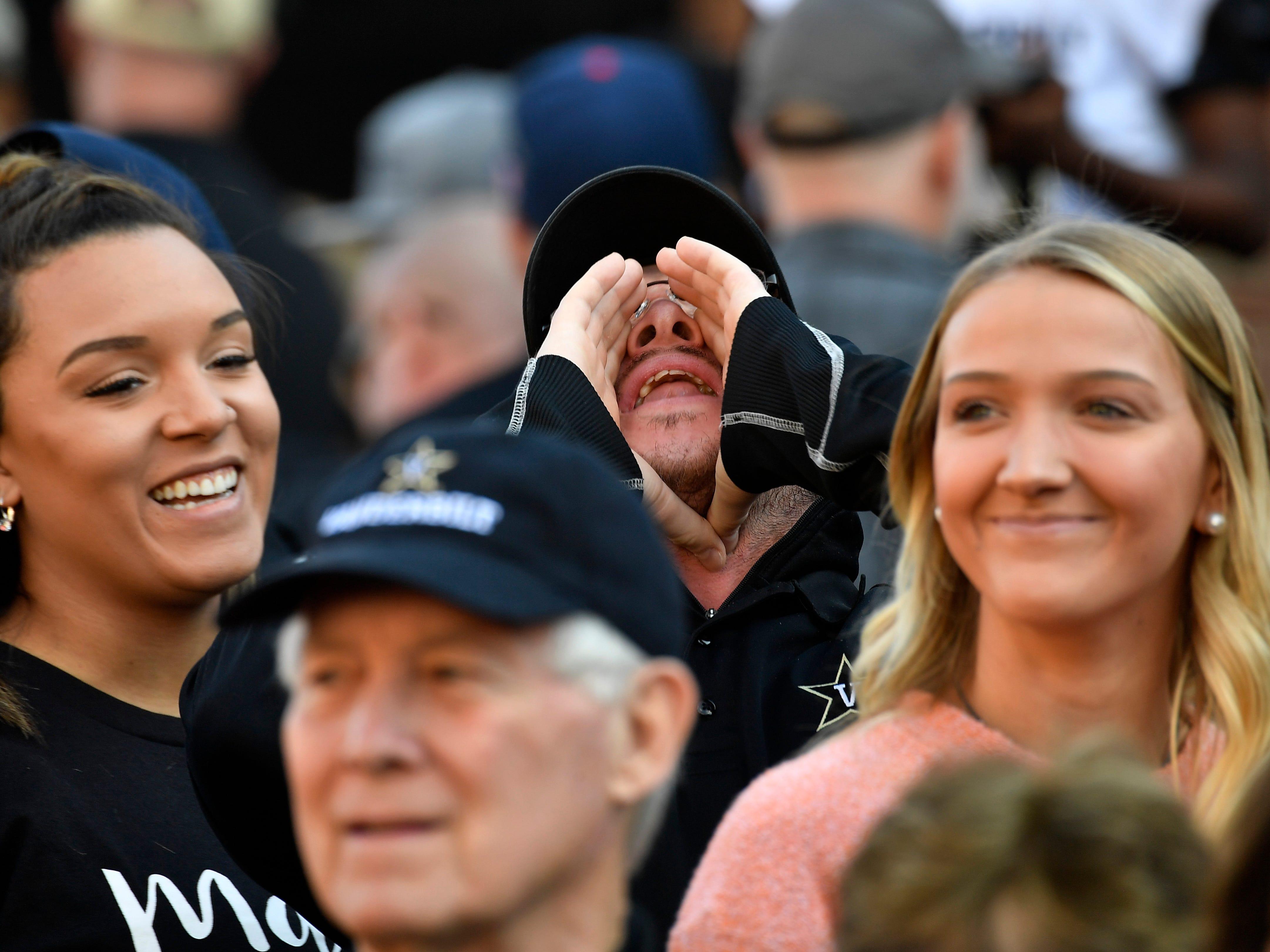 A Vanderbilt fan yells before the game at Vanderbilt Stadium Saturday, Nov. 24, 2018, in Nashville, Tenn.