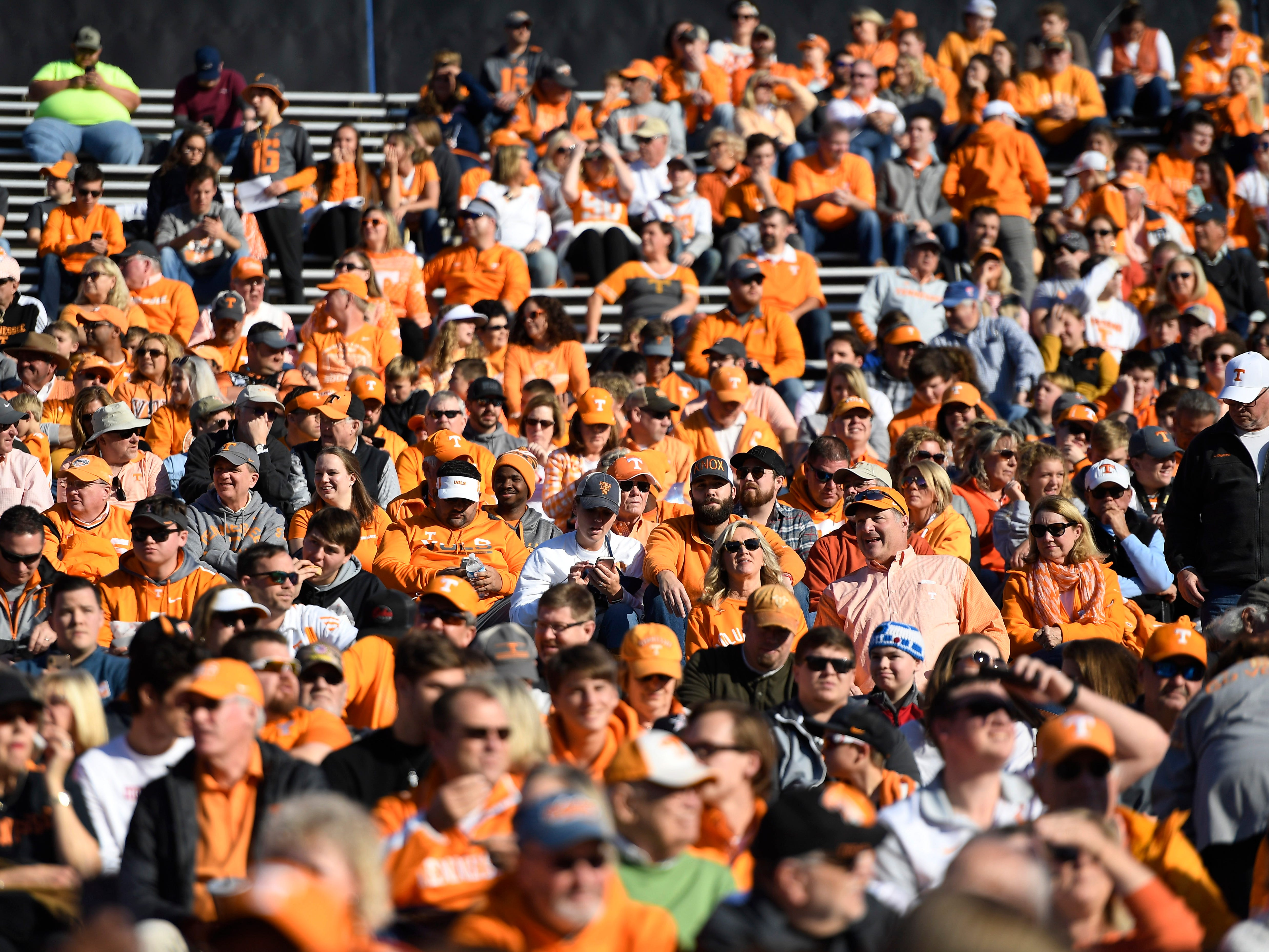 A sea of Tennessee fans wait for the start of the game at Vanderbilt Stadium Saturday, Nov. 24, 2018, in Nashville, Tenn.