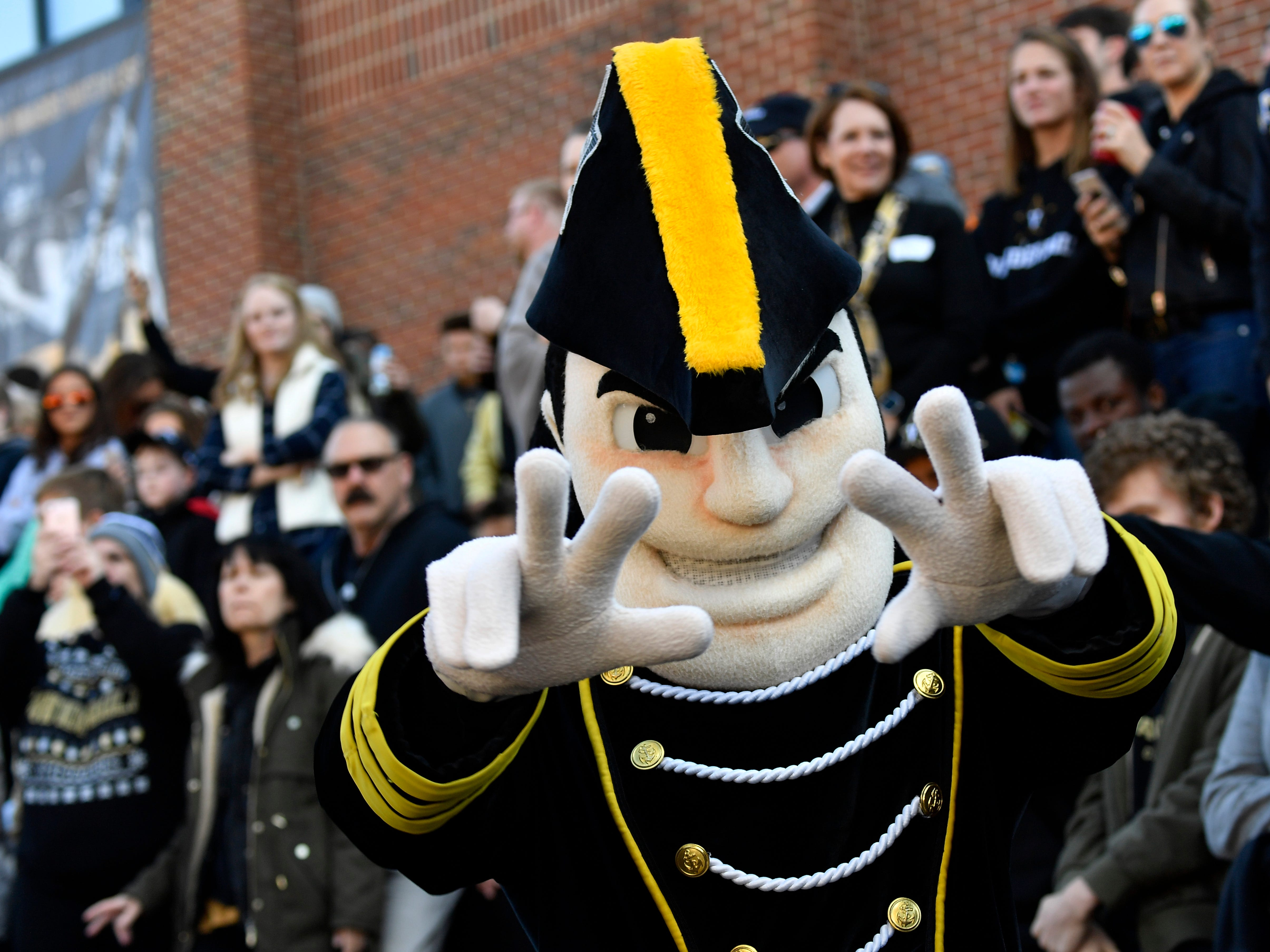 Mr. Commodore cheers for Vanderbilt before the game at Vanderbilt Stadium Saturday, Nov. 24, 2018, in Nashville, Tenn.