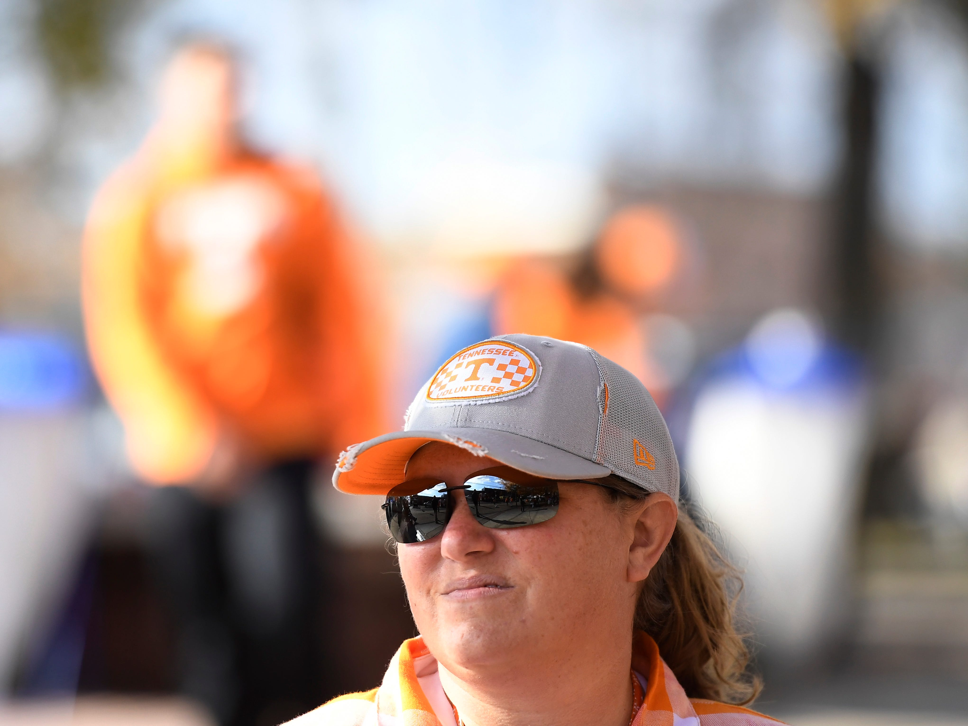 Vols fan Leah Foust of Jackson is decked out in Tennessee colors before the game at Vanderbilt Stadium Saturday, Nov. 24, 2018, in Nashville, Tenn.