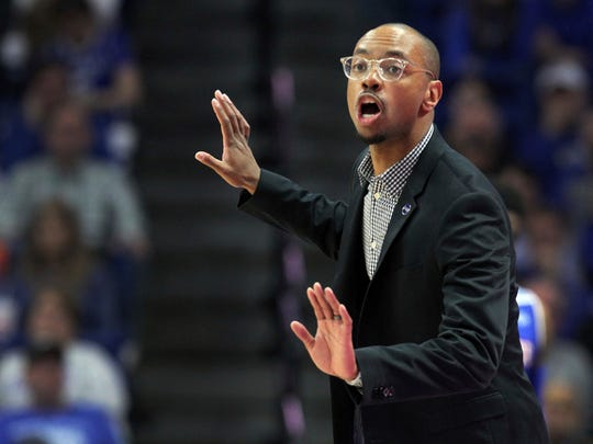 Tennessee State head coach Brian Collins directs his team during the second half of an NCAA college basketball game against Kentucky in Lexington, Ky., Friday, Nov. 23, 2018.