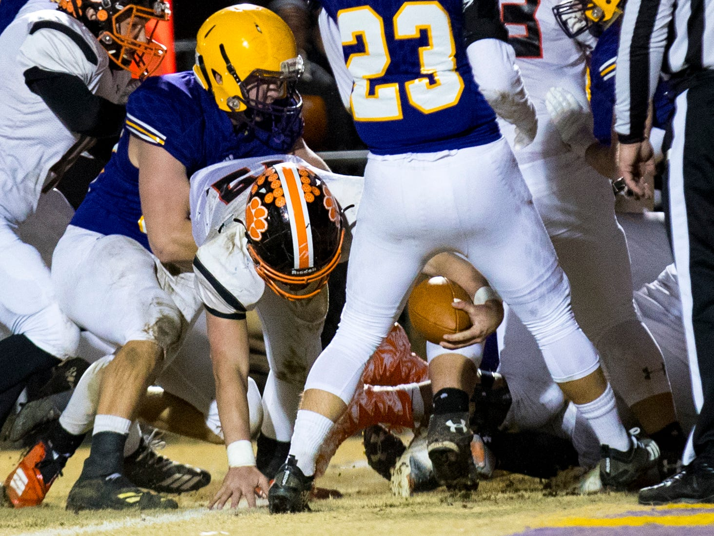 Meigs County's Aaron Swafford (19) falls into the endzone for a touchdown during Trousdale County's game against Meigs County at Jim Satterfield Stadium in Hartsville on Friday, Nov. 23, 2018.