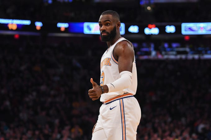 Nov 23, 2018; New York, NY, USA; New York Knicks guard Tim Hardaway Jr. (3) reacts in the second quarter agains the New Orleans Pelicans at Madison Square Garden.