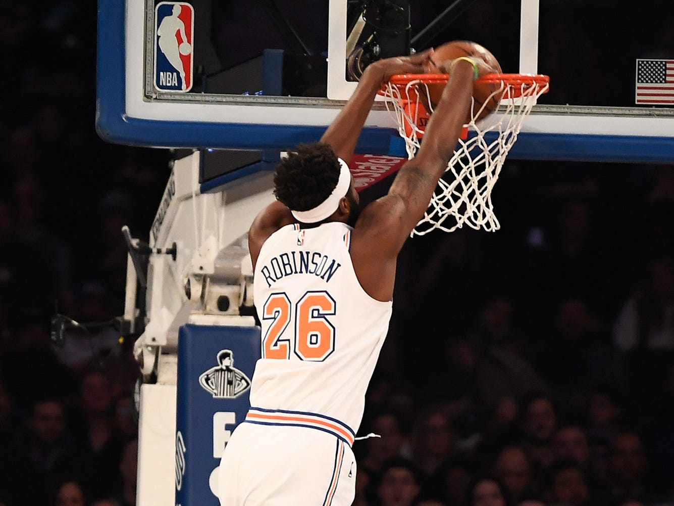 Nov 23, 2018; New York, NY, USA; New York Knicks center Mitchell Robinson (26) dunks the ball in the first quarter against the New Orleans Pelicans at Madison Square Garden.