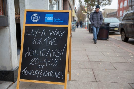 Signs out on Park Ave with the Small Business Saturday branding November 24, 2018 Rutherford, NJ.