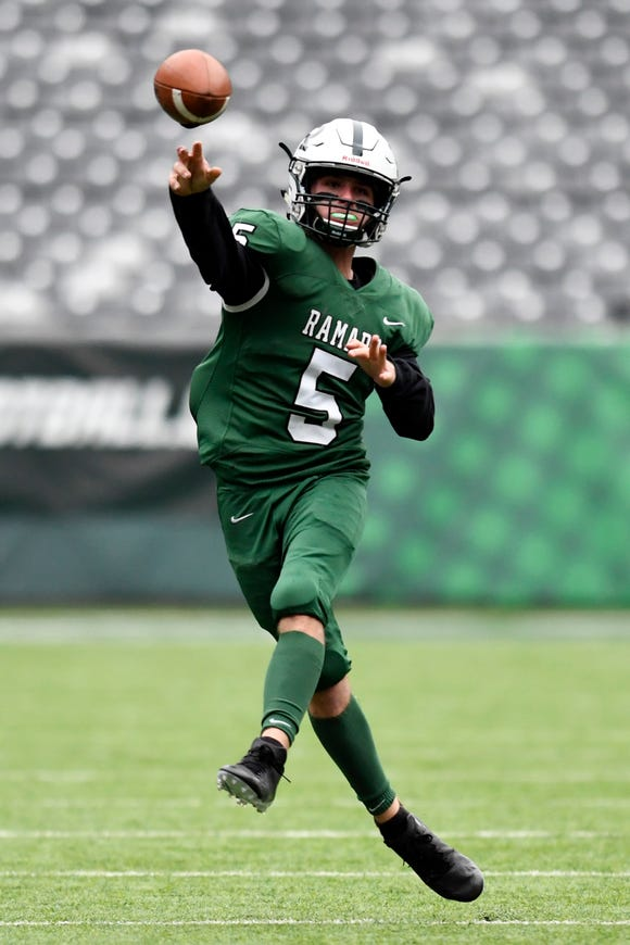 Ramapo quarterback A.J. Wingfield (5) throws against Summit in the second half. Ramapo defeats Summit 42-22 in the North Group 3 Bowl Game on Saturday, Nov. 24, 2018, in East Rutherford.