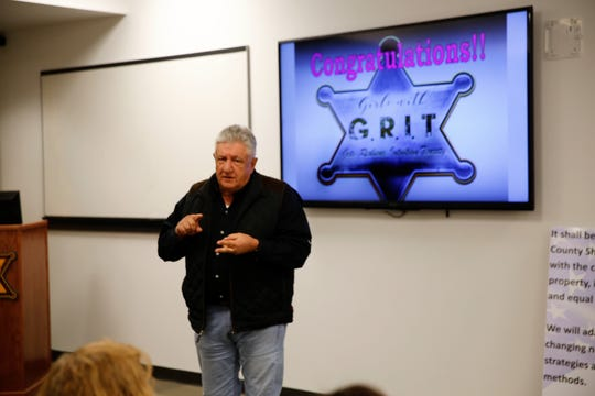 San Juan County Sheriff Ken Christesen speaks during the last fall class of the San Juan County Sheriff's Office Girls with G.R.I.T. program on Nov. 13 at the Sheriff's Office building in Aztec.
