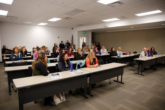 Students attend the last fall class of the San Juan County Sheriff's Office Girls with G.R.I.T. program on Nov. 13 at the Sheriff's Office building in Aztec.
