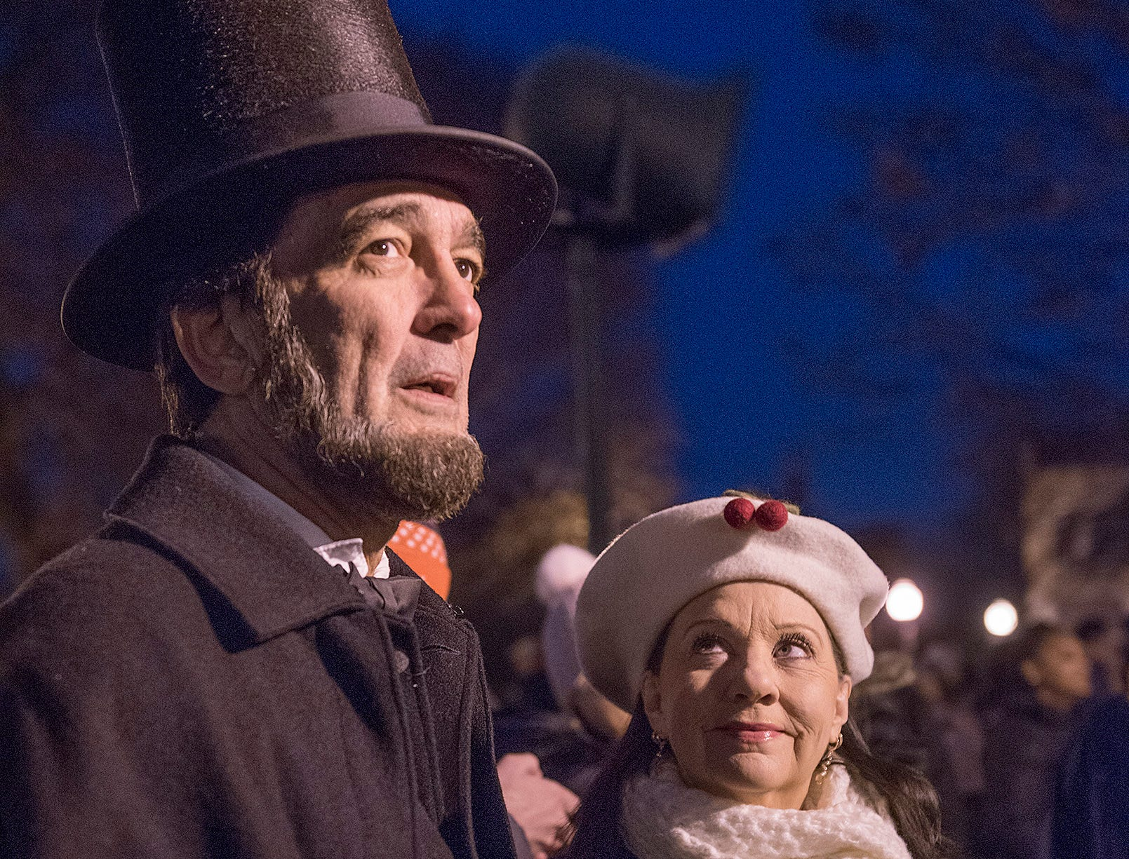 Ron Carley, as Abraham Lincoln, and Tina Hadley Carley, waiting for Santa.