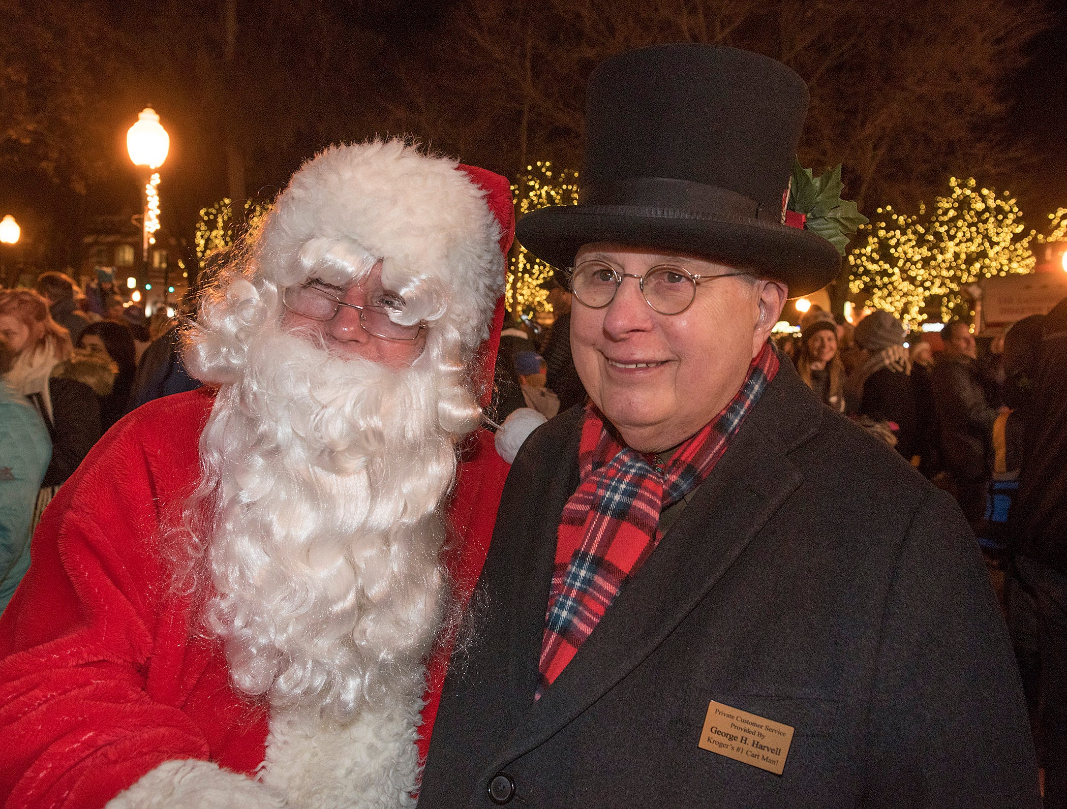 Santa greets George Harvell.
