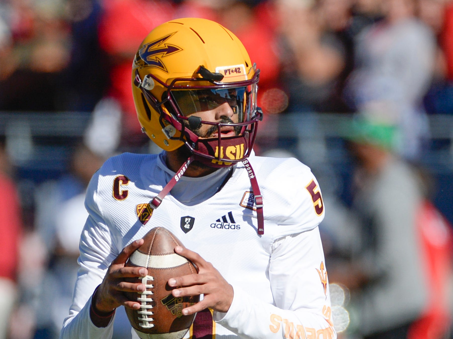 Nov 24, 2018; Tucson, AZ, USA; Arizona State Sun Devils quarterback Manny Wilkins (5) warms up before playing the Arizona Wildcats at Arizona Stadium. Mandatory Credit: Casey Sapio-USA TODAY Sports