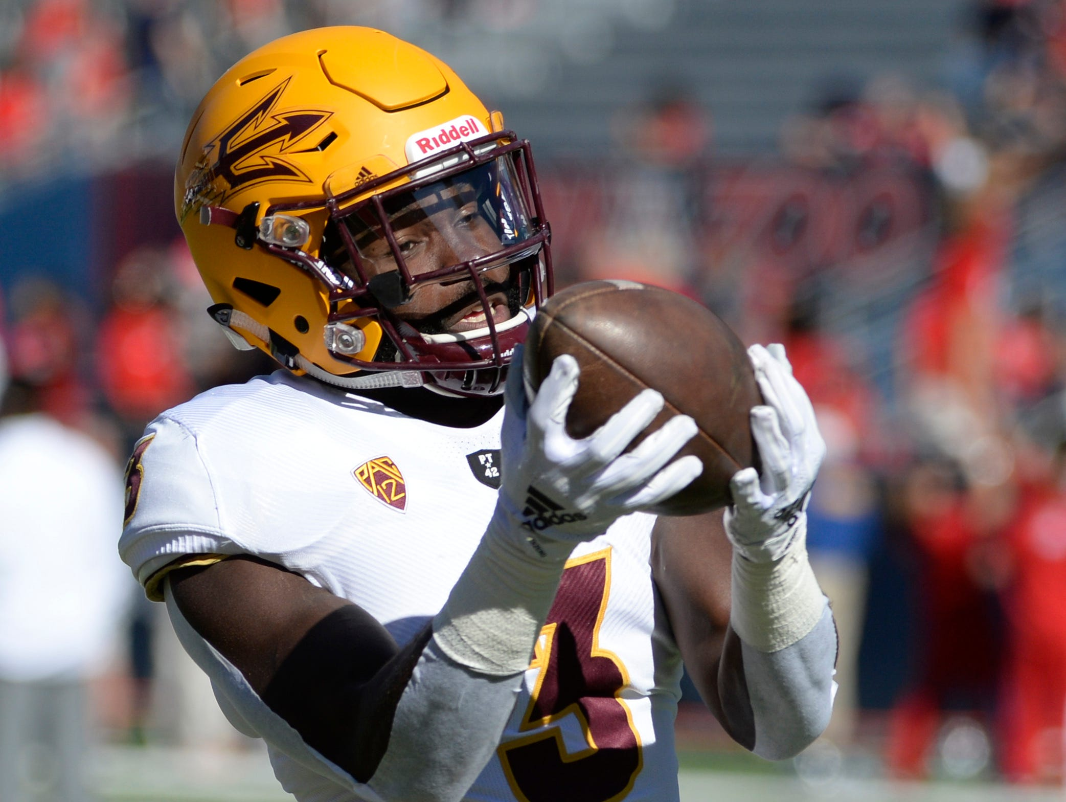 Nov 24, 2018; Tucson, AZ, USA; Arizona State Sun Devils running back Eno Benjamin (3) warms up before playing the Arizona Wildcats at Arizona Stadium. Mandatory Credit: Casey Sapio-USA TODAY Sports