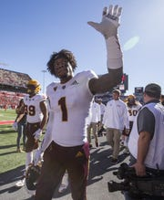 Arizona State's N'Keal Harry walks to the locker room before the Territorial Cup football game on Saturday, Nov. 24, 2018, at Arizona Stadium in Tucson, Ariz.