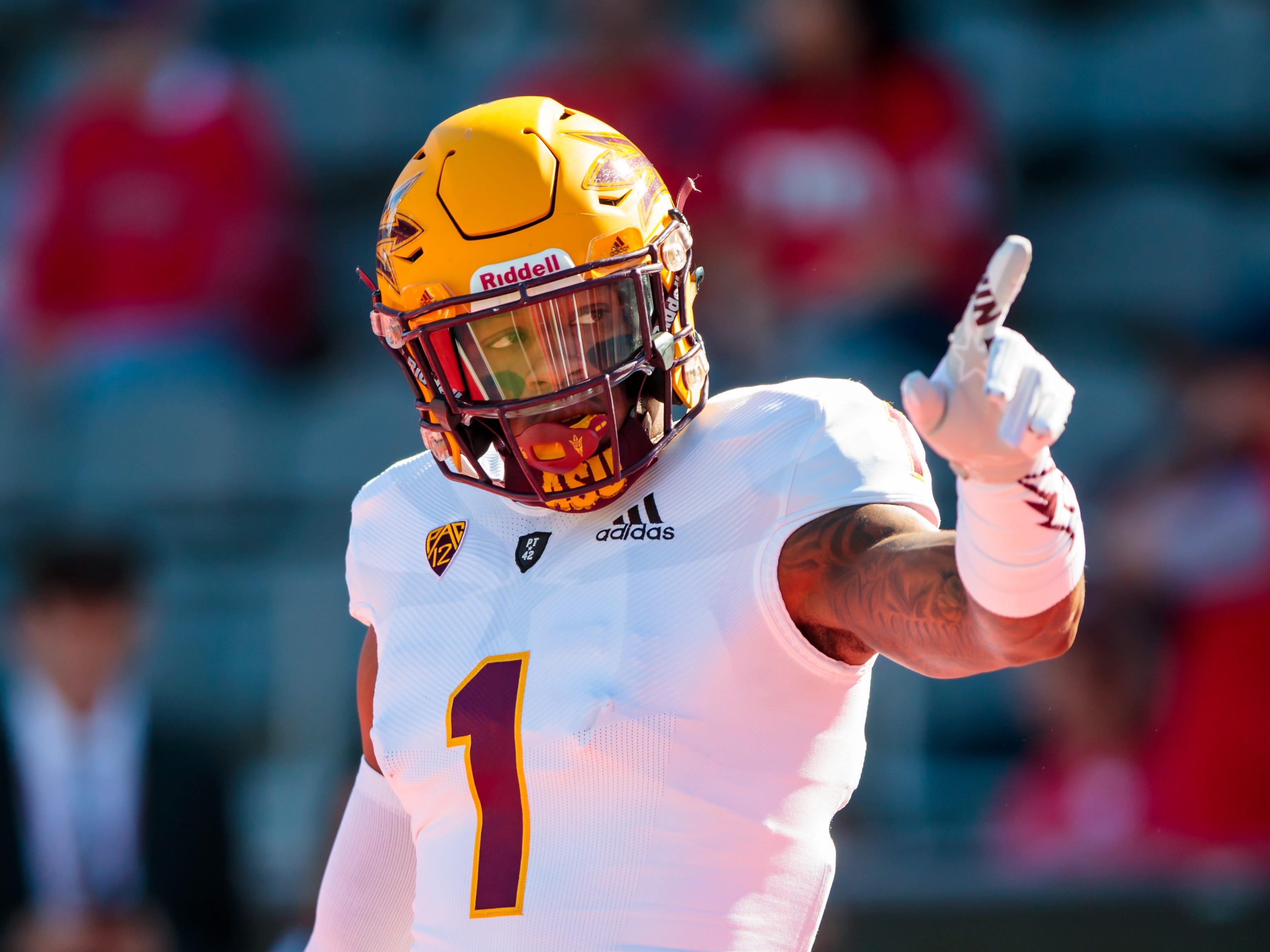 Nov 24, 2018; Tucson, AZ, USA; Arizona State Sun Devils wide receiver N'Keal Harry (1) prior to the game against the Arizona Wildcats during the Territorial Cup at Arizona Stadium. Mandatory Credit: Mark J. Rebilas-USA TODAY Sports