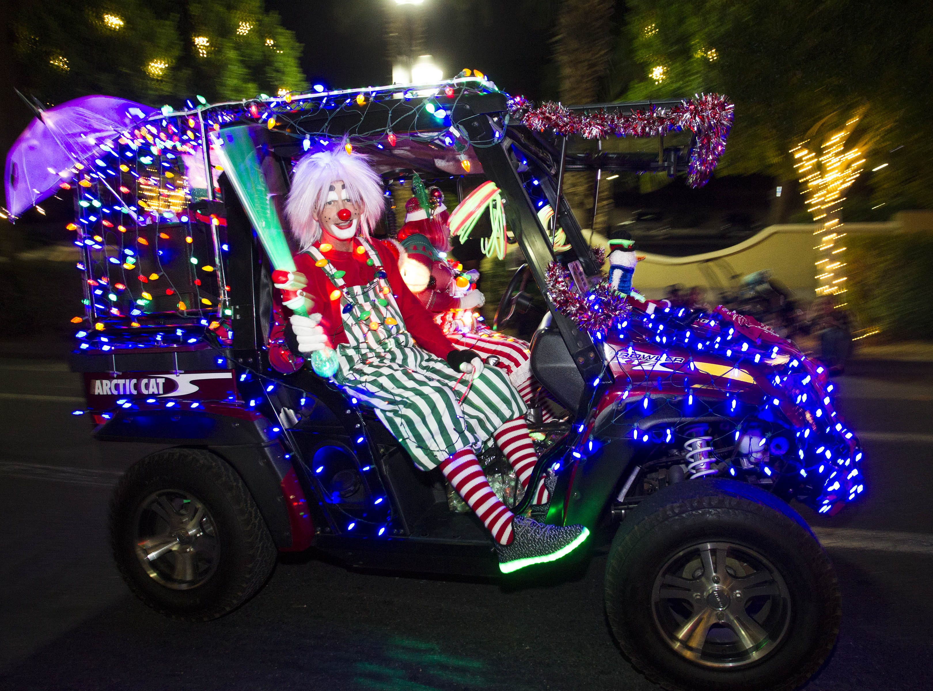 Parade participants make their way down Mill Avenue during the 2018 Fantasy of Lights Parade, Friday, Nov. 23, 2018.